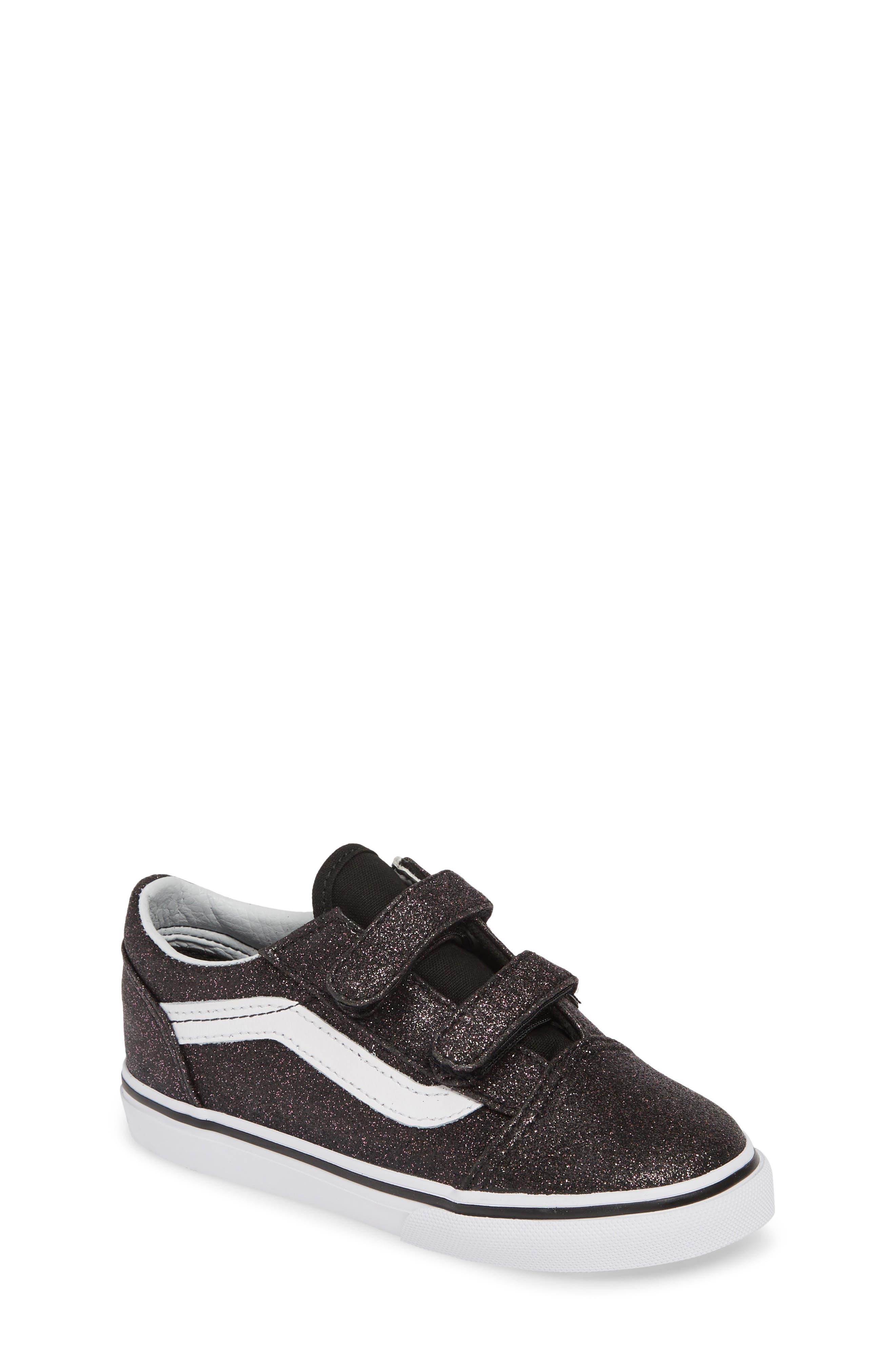VANS, Old Skool V Glitter Sneaker, Main thumbnail 1, color, GLITTER STARS BLACK/ WHITE