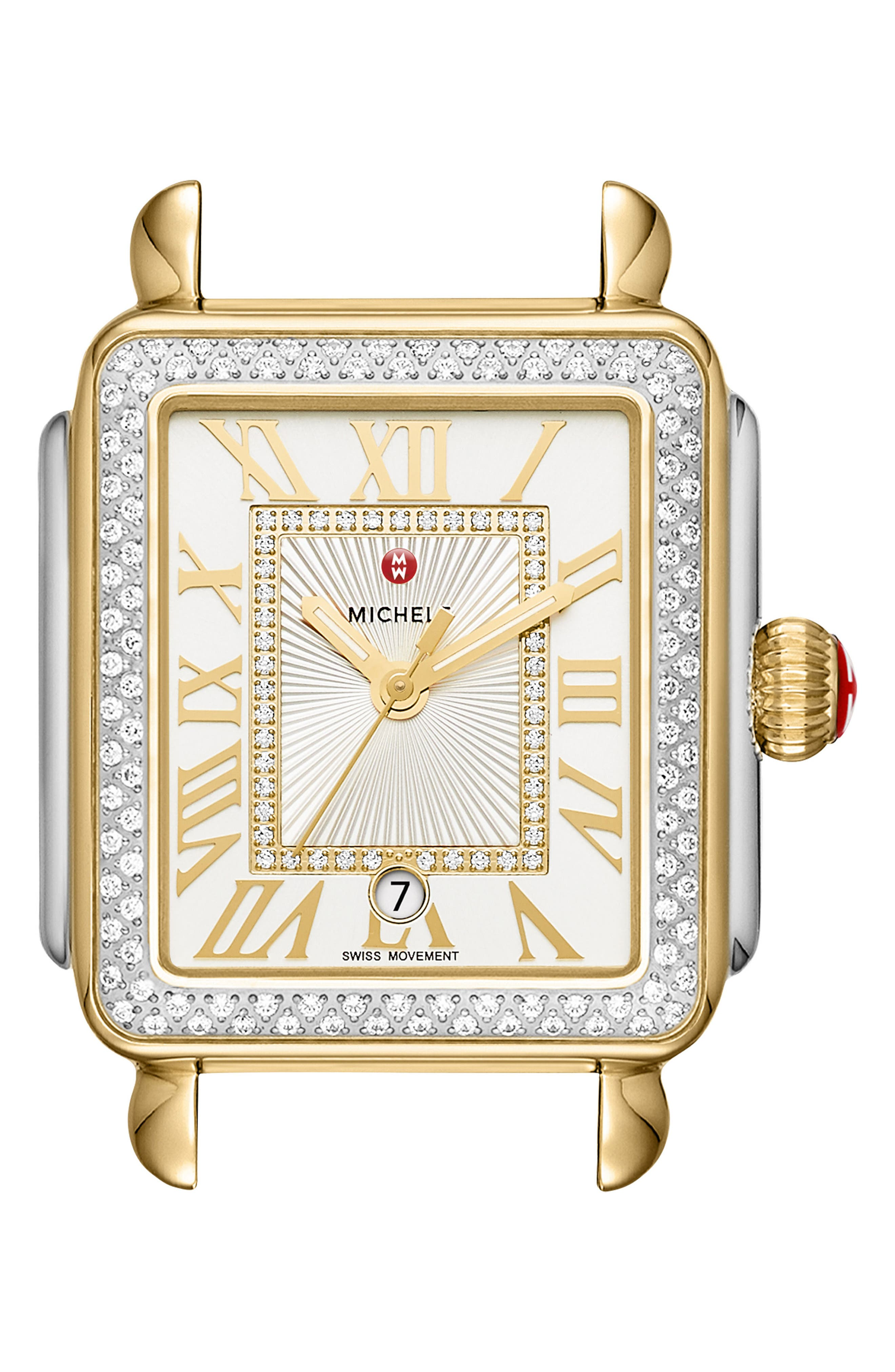 MICHELE, Deco Madison Diamond Dial Watch Case, 33mm x 35mm, Main thumbnail 1, color, GOLD