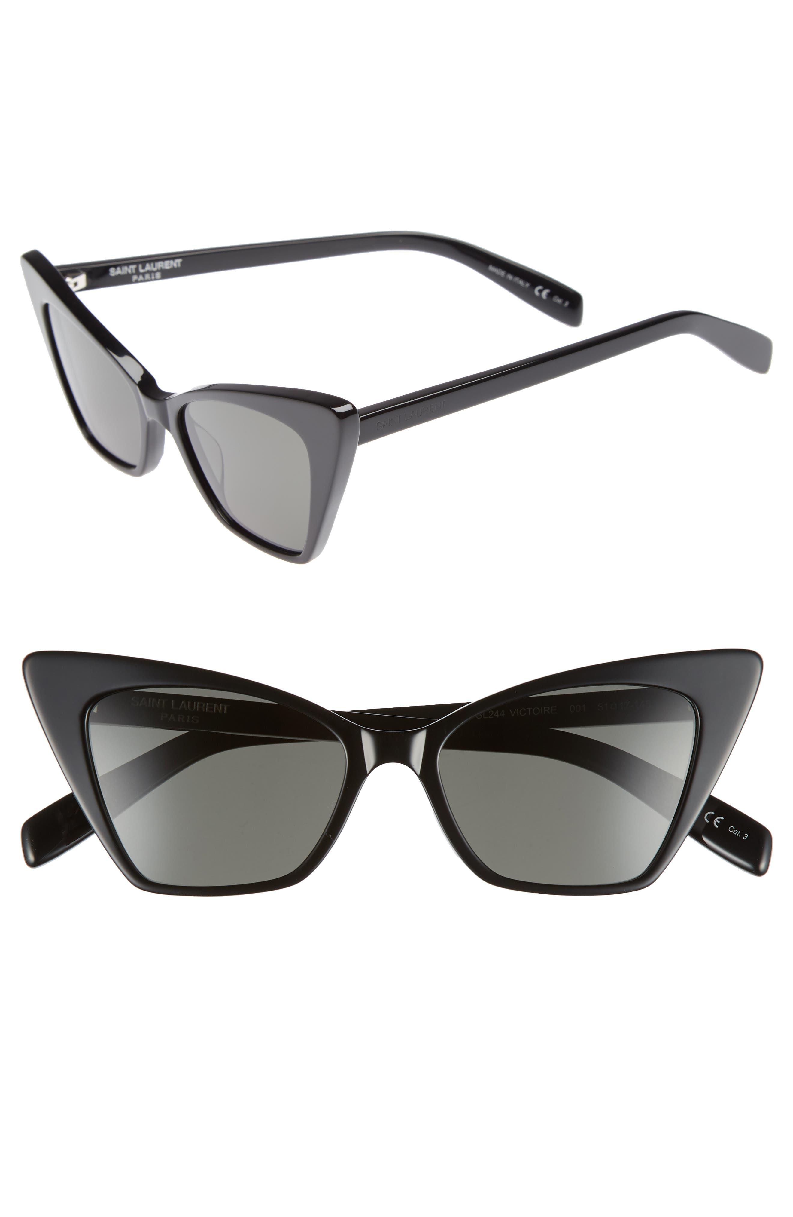 SAINT LAURENT, 51mm Cat Eye Sunglasses, Main thumbnail 1, color, BLACK