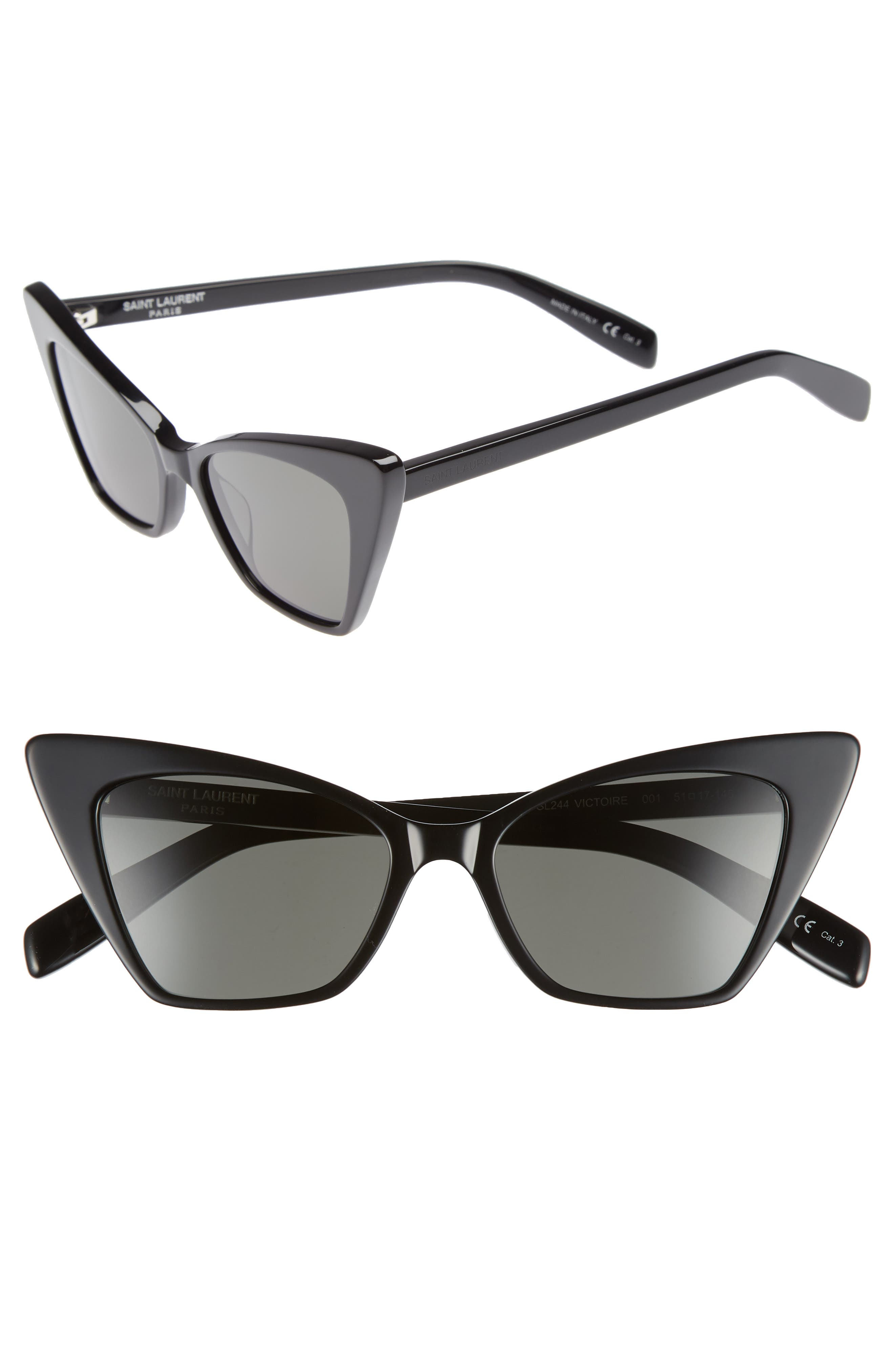 SAINT LAURENT 51mm Cat Eye Sunglasses, Main, color, BLACK