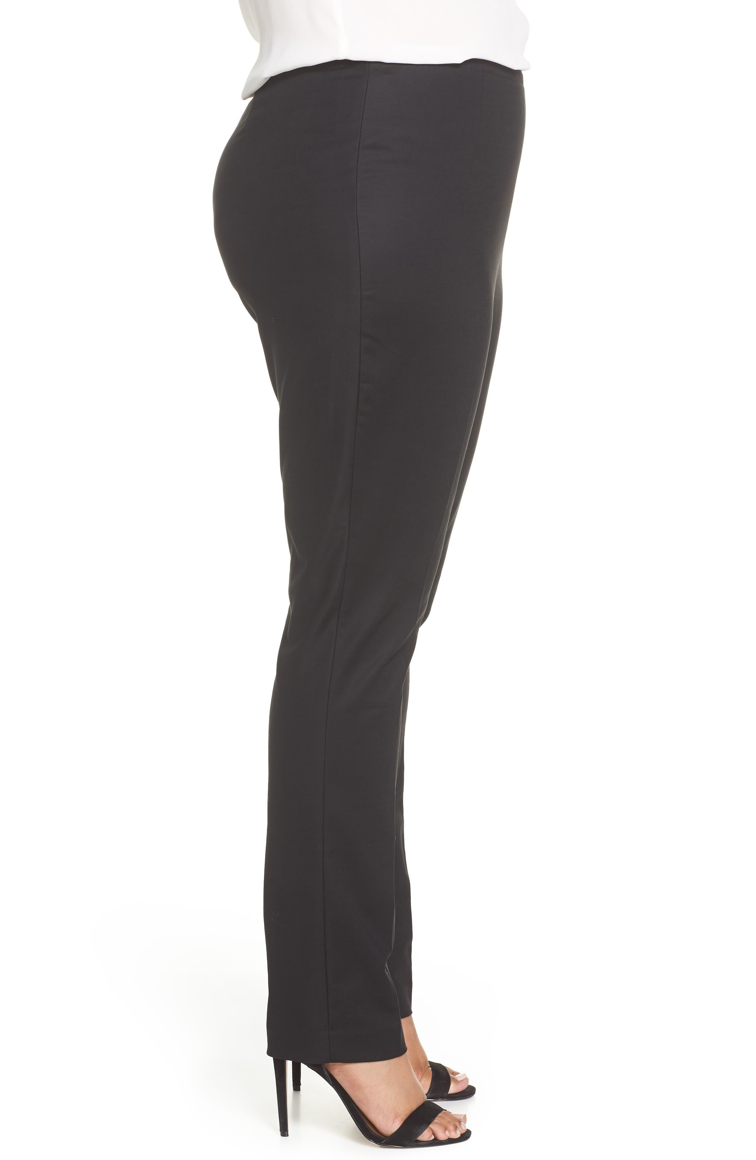 NIC+ZOE, 'Perfect' Side Zip Pants, Alternate thumbnail 3, color, BLACK ONYX