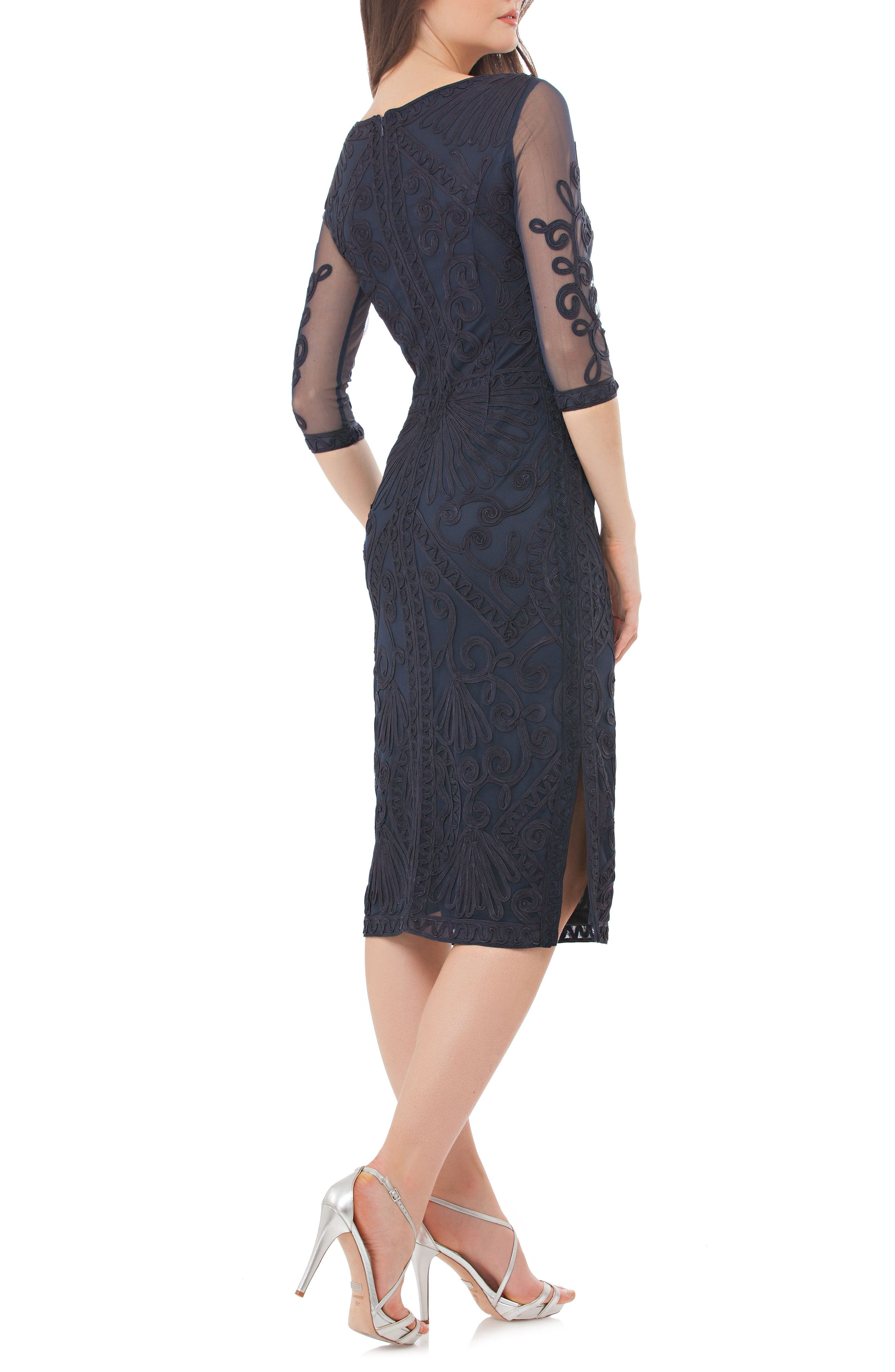 JS COLLECTIONS, Sheer Sleeve Soutache Sheath Dress, Alternate thumbnail 2, color, NAVY
