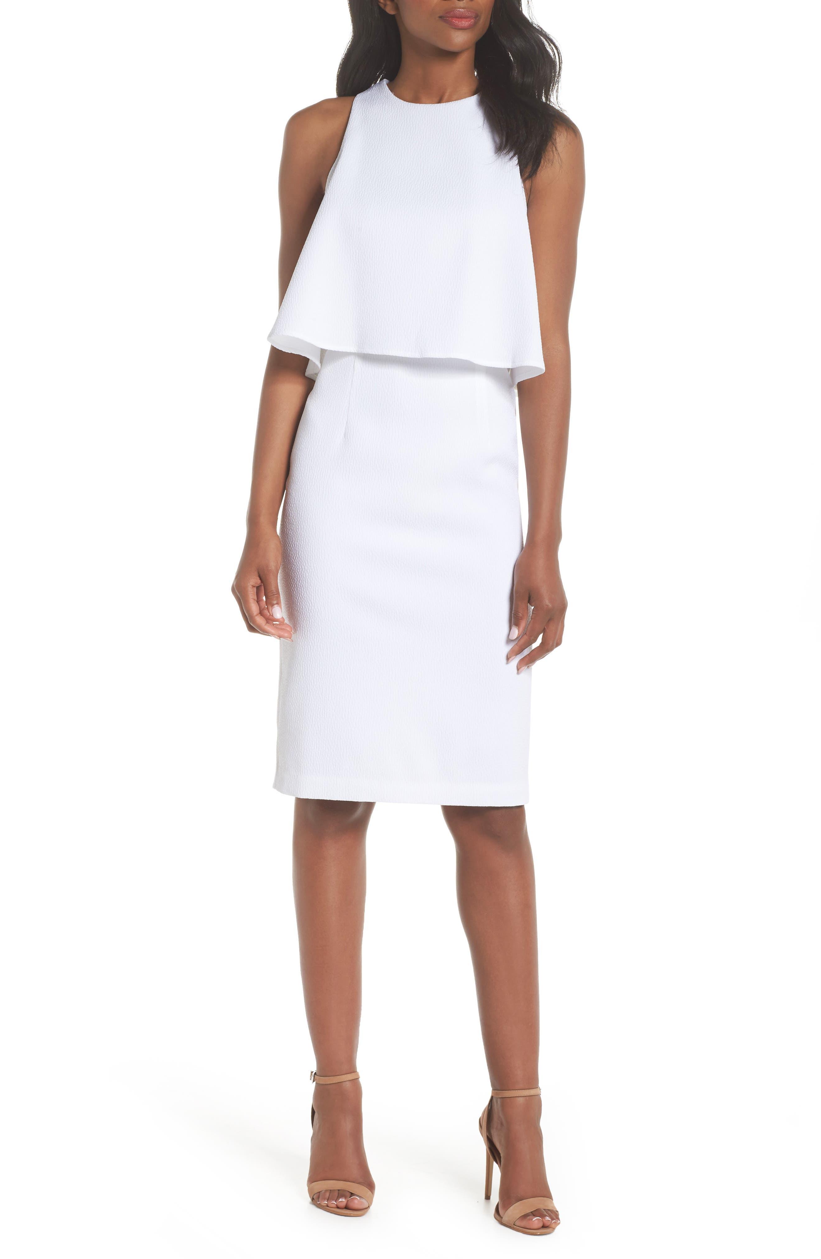 CHELSEA28, Popover Crop Sheath Dress, Main thumbnail 1, color, WHITE SNOW