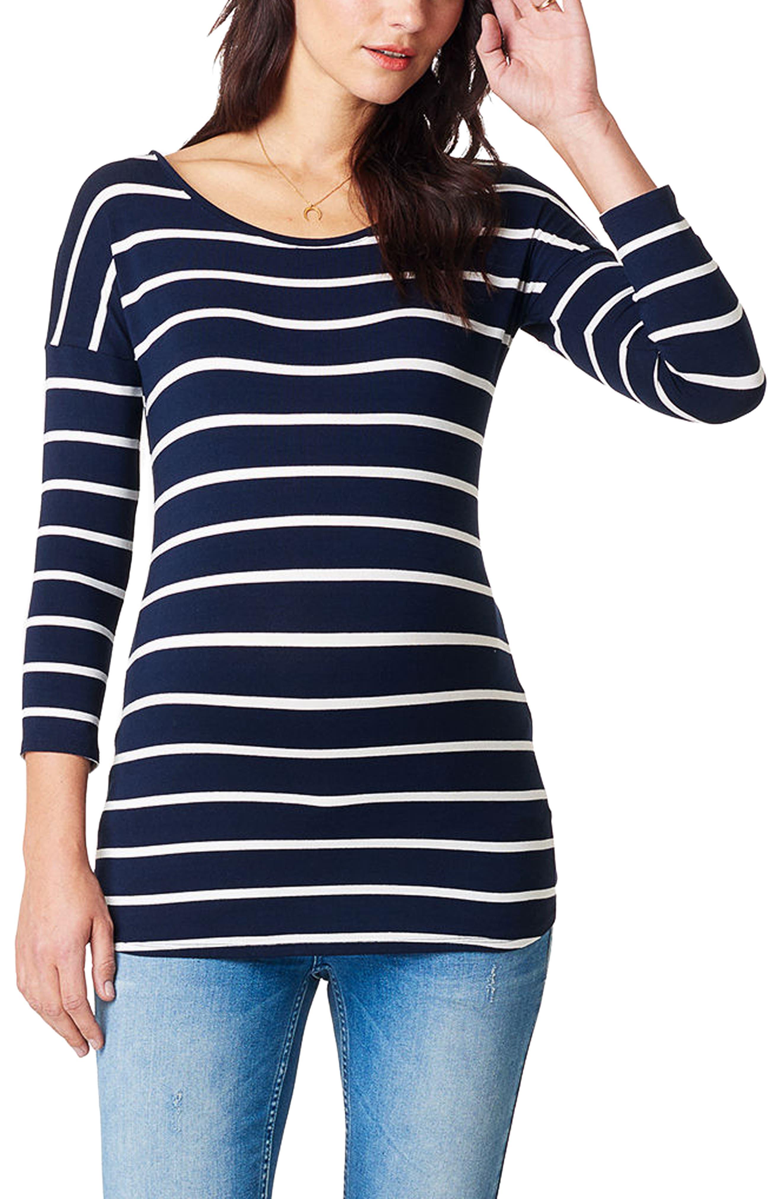 NOPPIES, Lila Stripe Maternity Tee, Main thumbnail 1, color, BLUE
