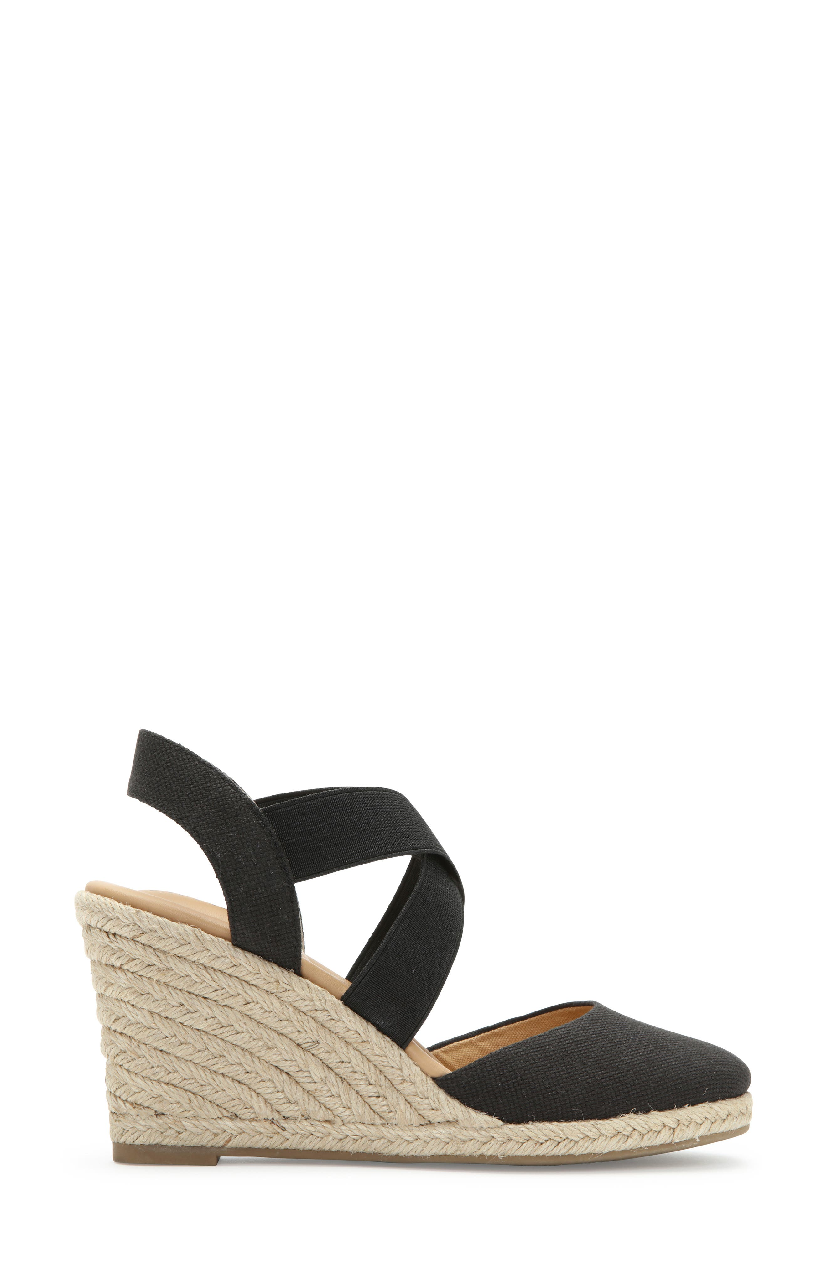 ME TOO, Brinley Espadrille Wedge, Alternate thumbnail 3, color, BLACK CANVAS
