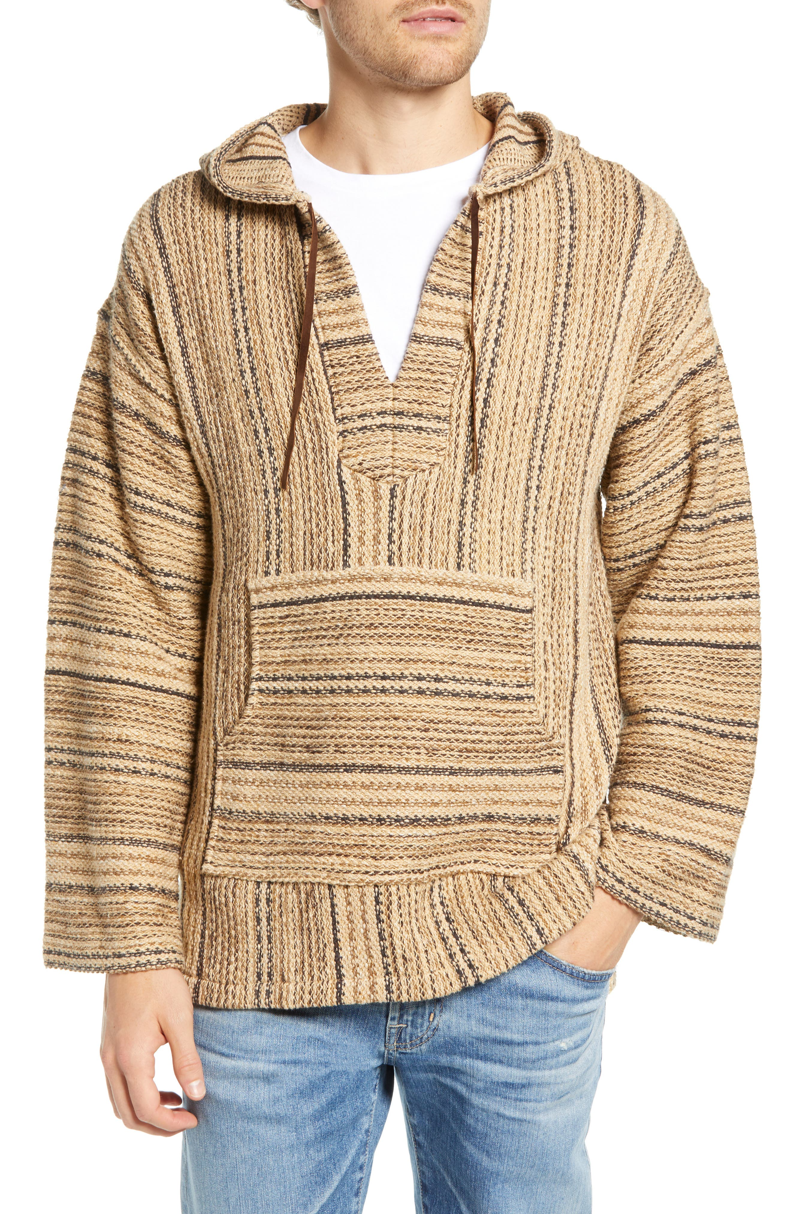 FRYE Baja Hooded Pullover, Main, color, TAOS TAUPE STRIPE
