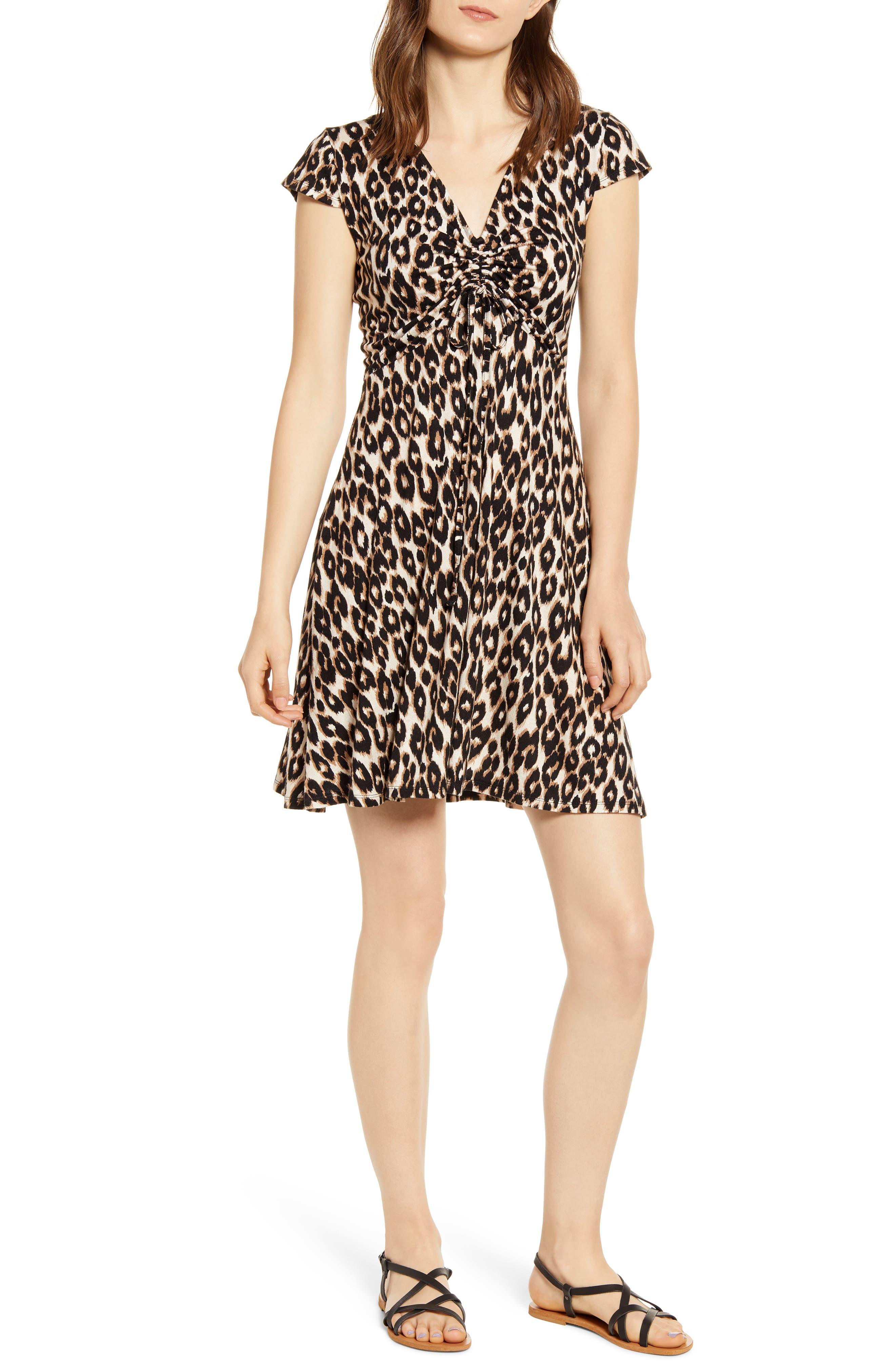 Love, Fire Leopard Print Ruched Minidress, Brown