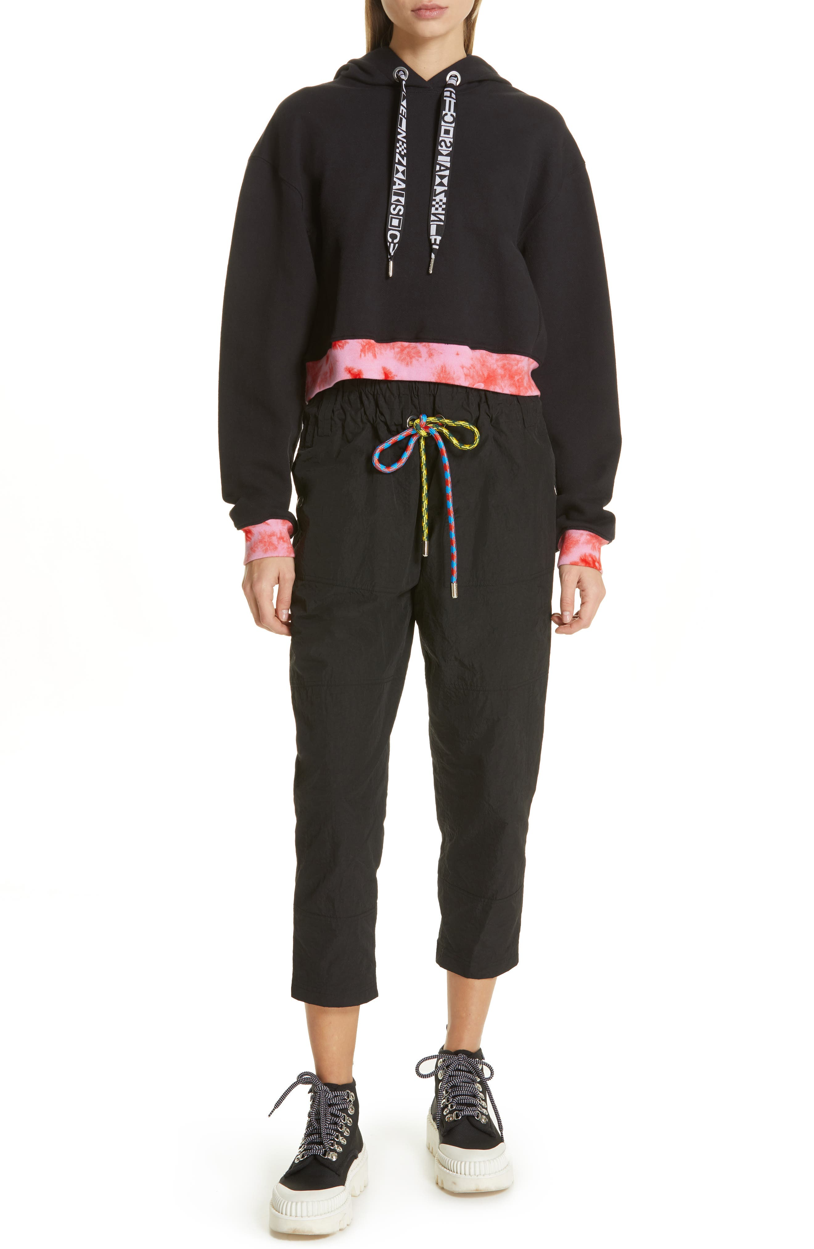 PROENZA SCHOULER, PSWL Drawstring Waist Parachute Pants, Alternate thumbnail 7, color, BLACK