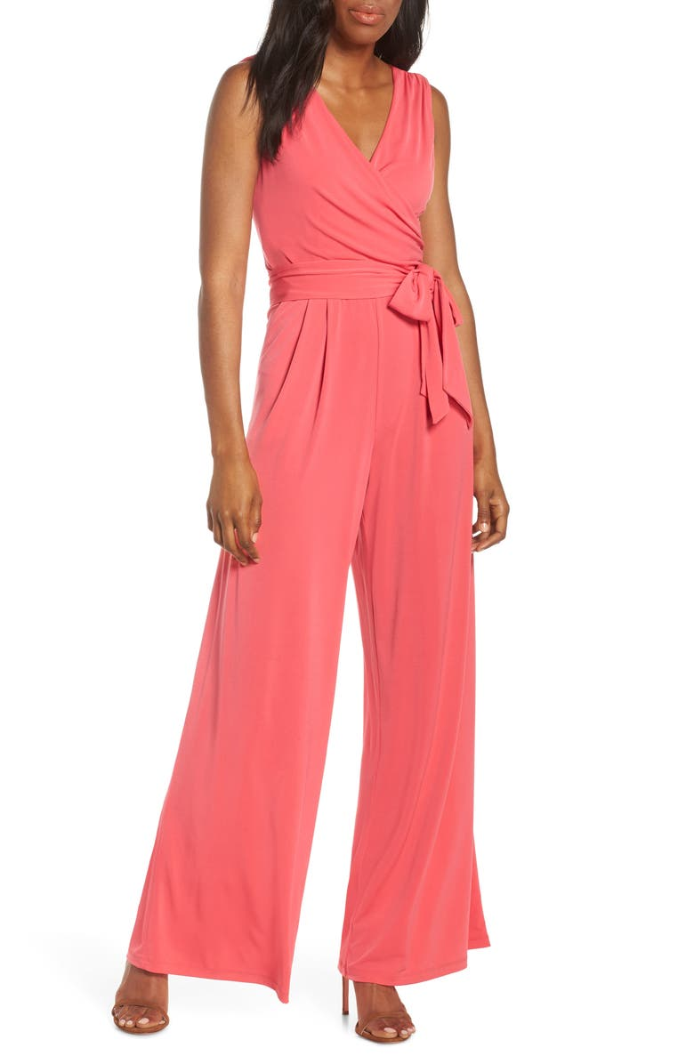 Eliza J Suits FAUX WRAP WIDE LEG JUMPSUIT