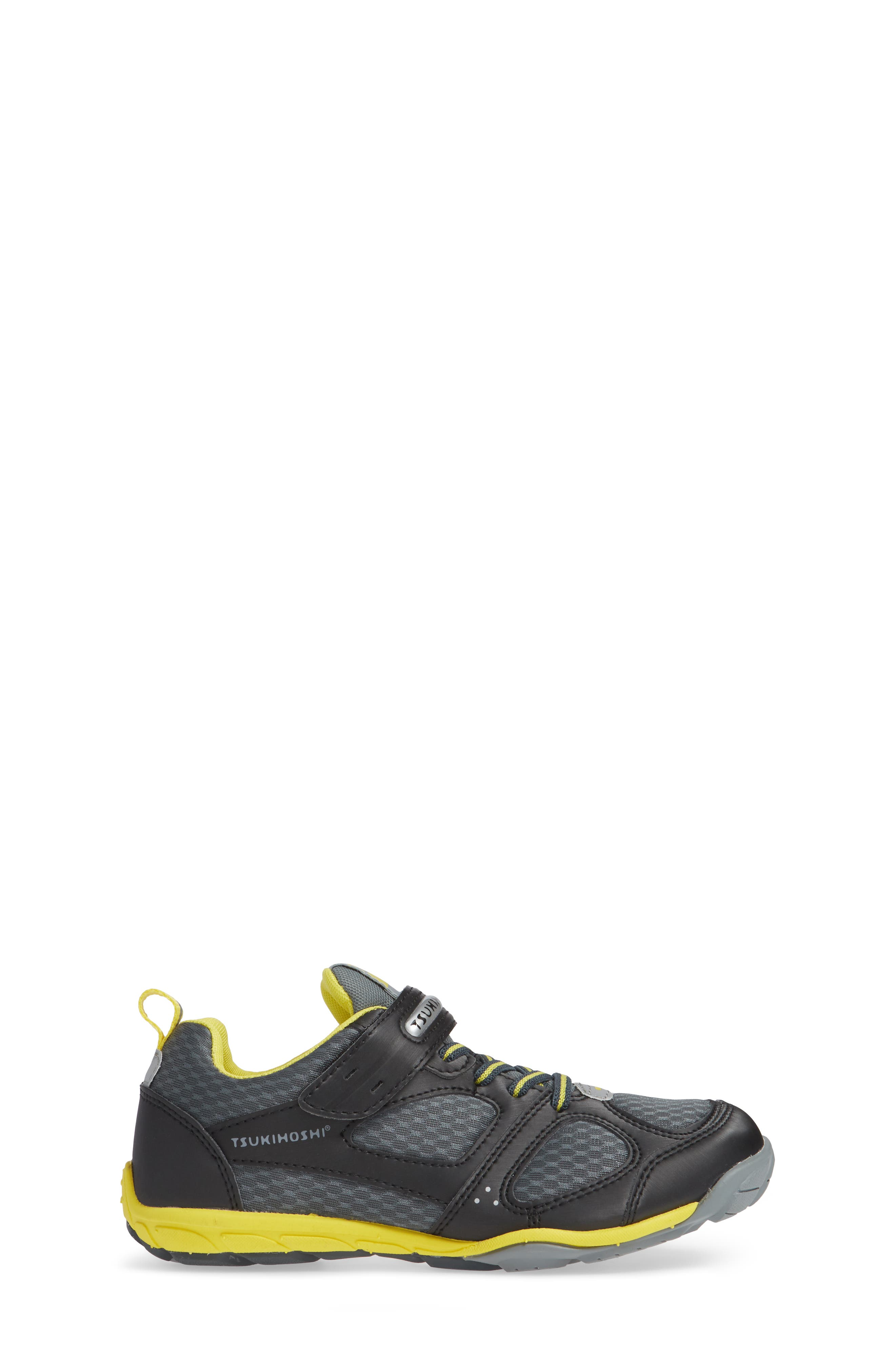 TSUKIHOSHI, Mako Washable Sneaker, Alternate thumbnail 3, color, BLACK/ YELLOW
