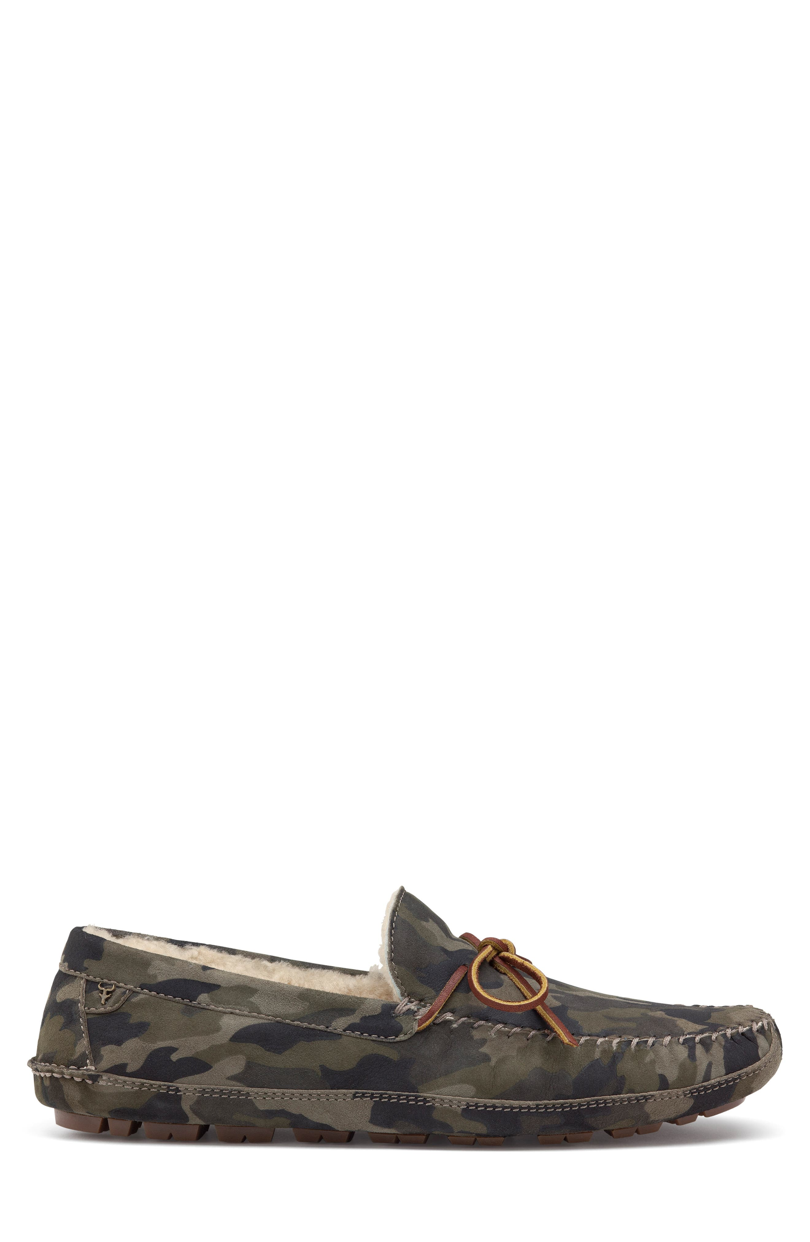 TRASK, 'Polson' Slipper, Alternate thumbnail 3, color, CAMO SUEDE/ SHEARLING