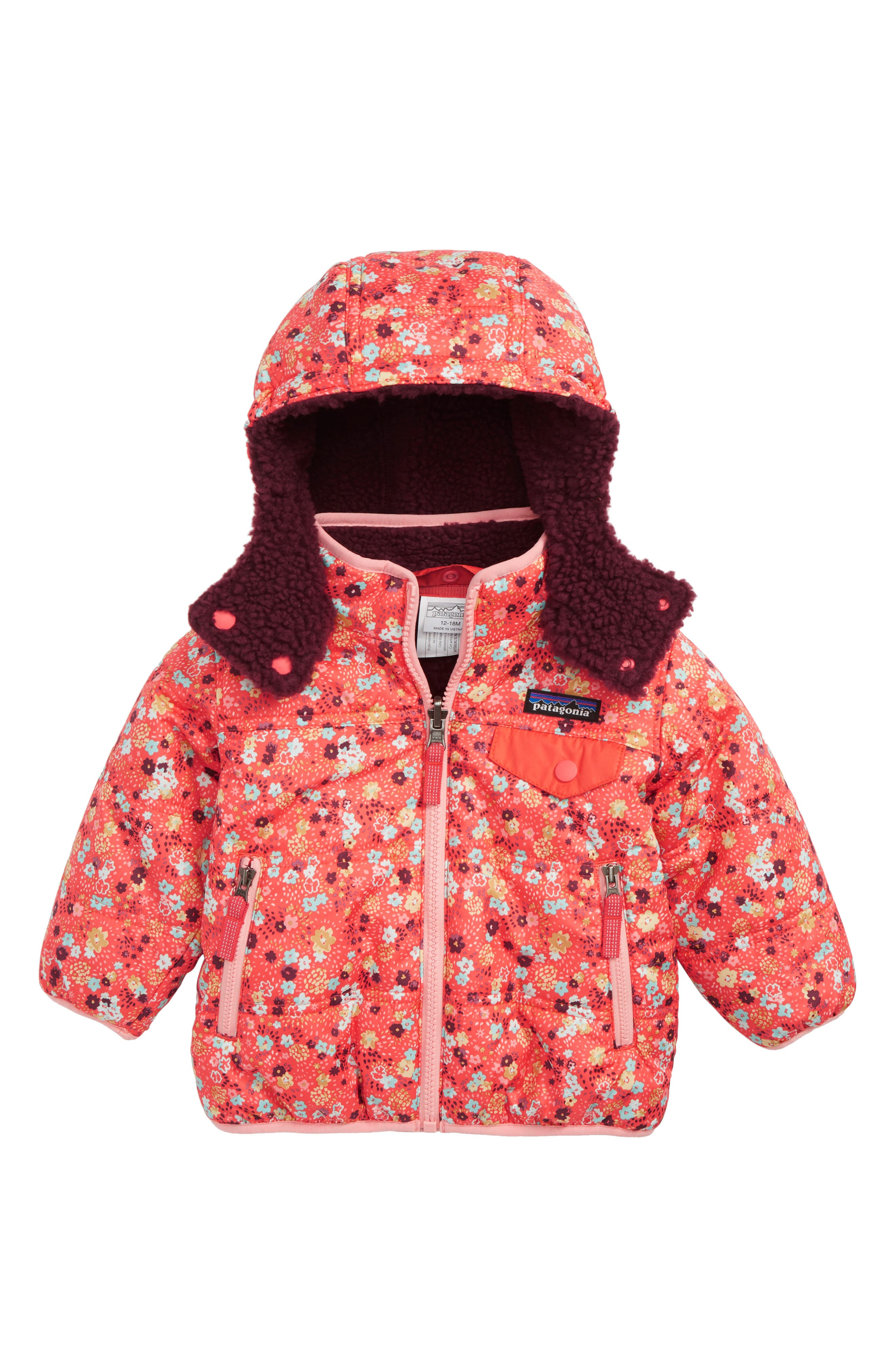 PATAGONIA Tribbles Reversible Water Resistant Snow Jacket, Main, color, UDSC UNTAMED DITSY SPICE CORAL