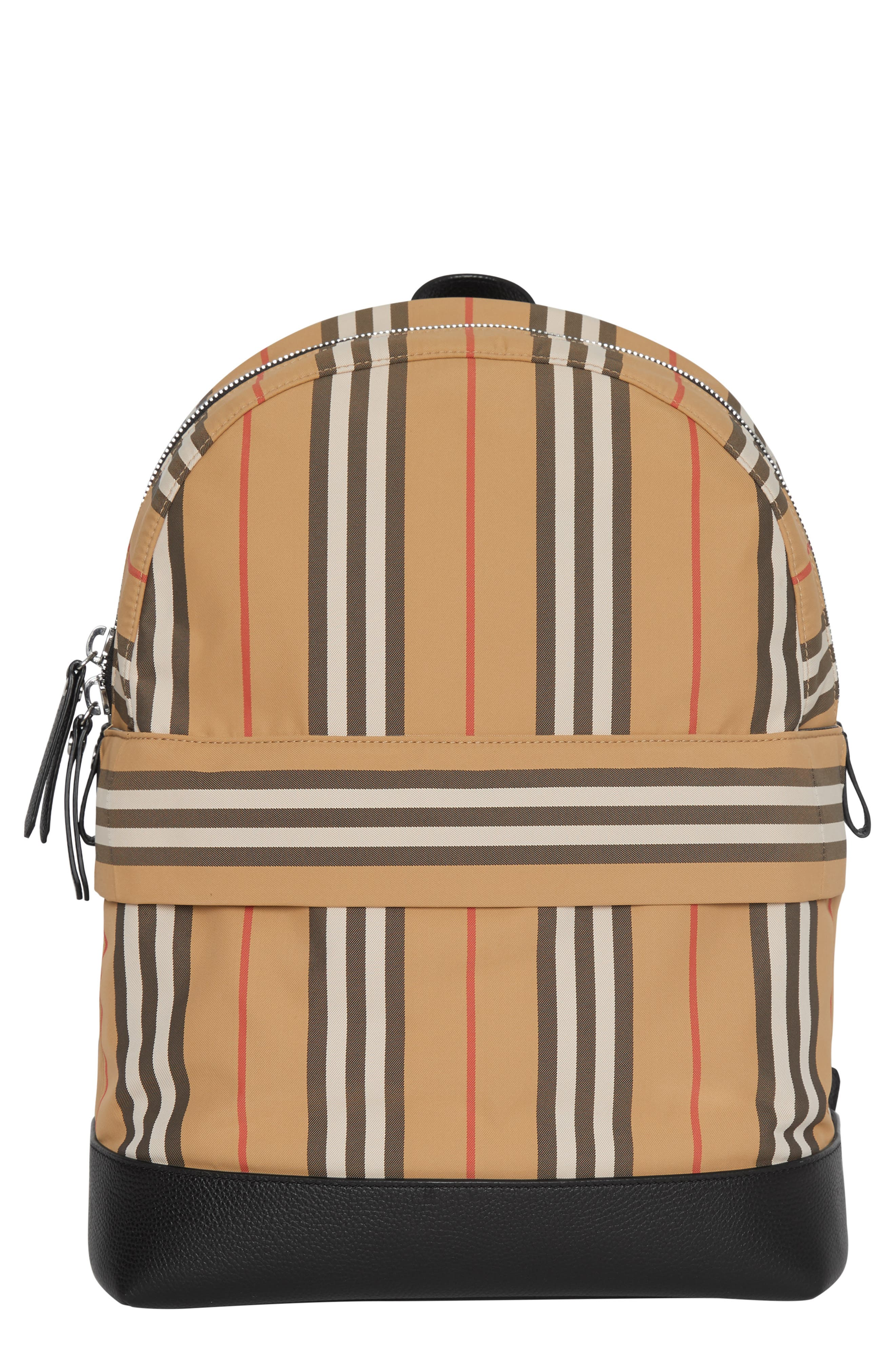 BURBERRY Nico Archive Stripe Backpack, Main, color, ARCHIVE BEIGE