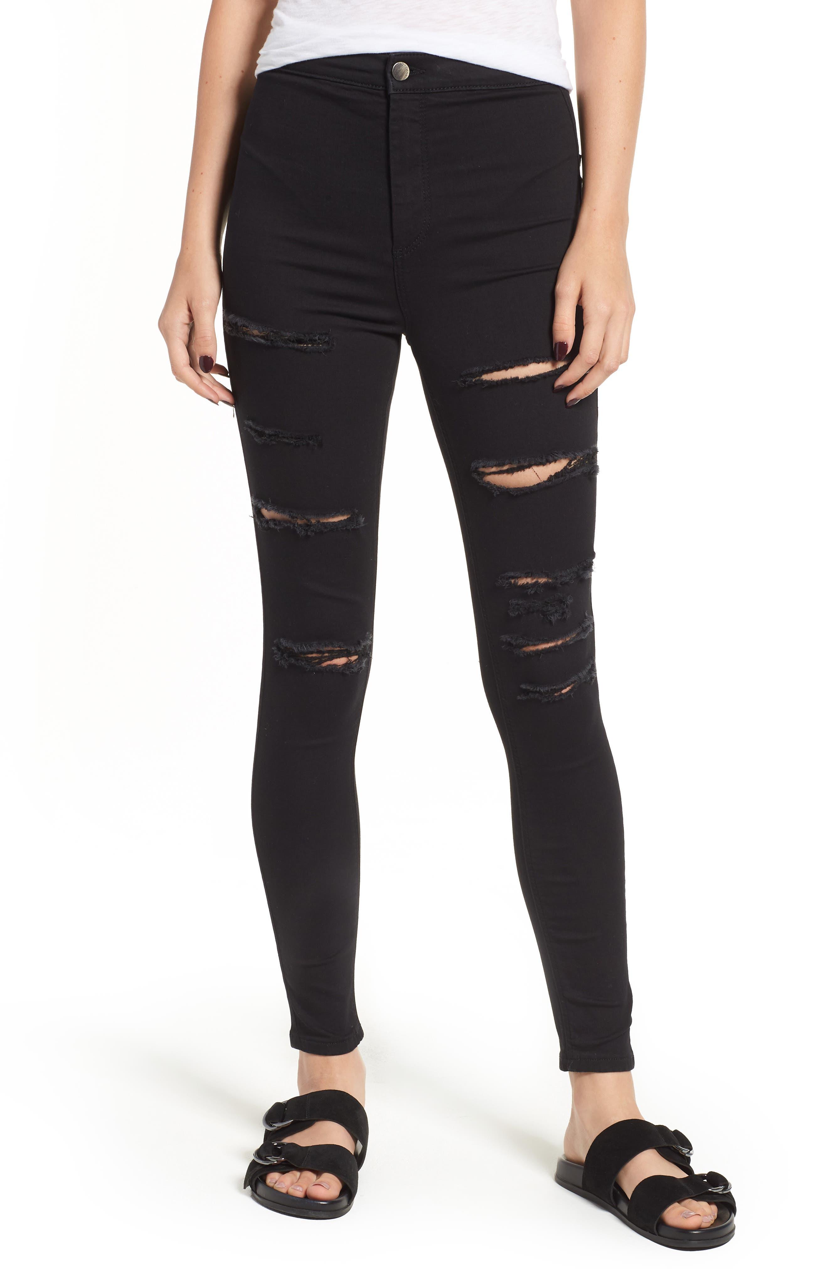 TOPSHOP MOTO Joni Ripped Skinny Jeans, Main, color, 001