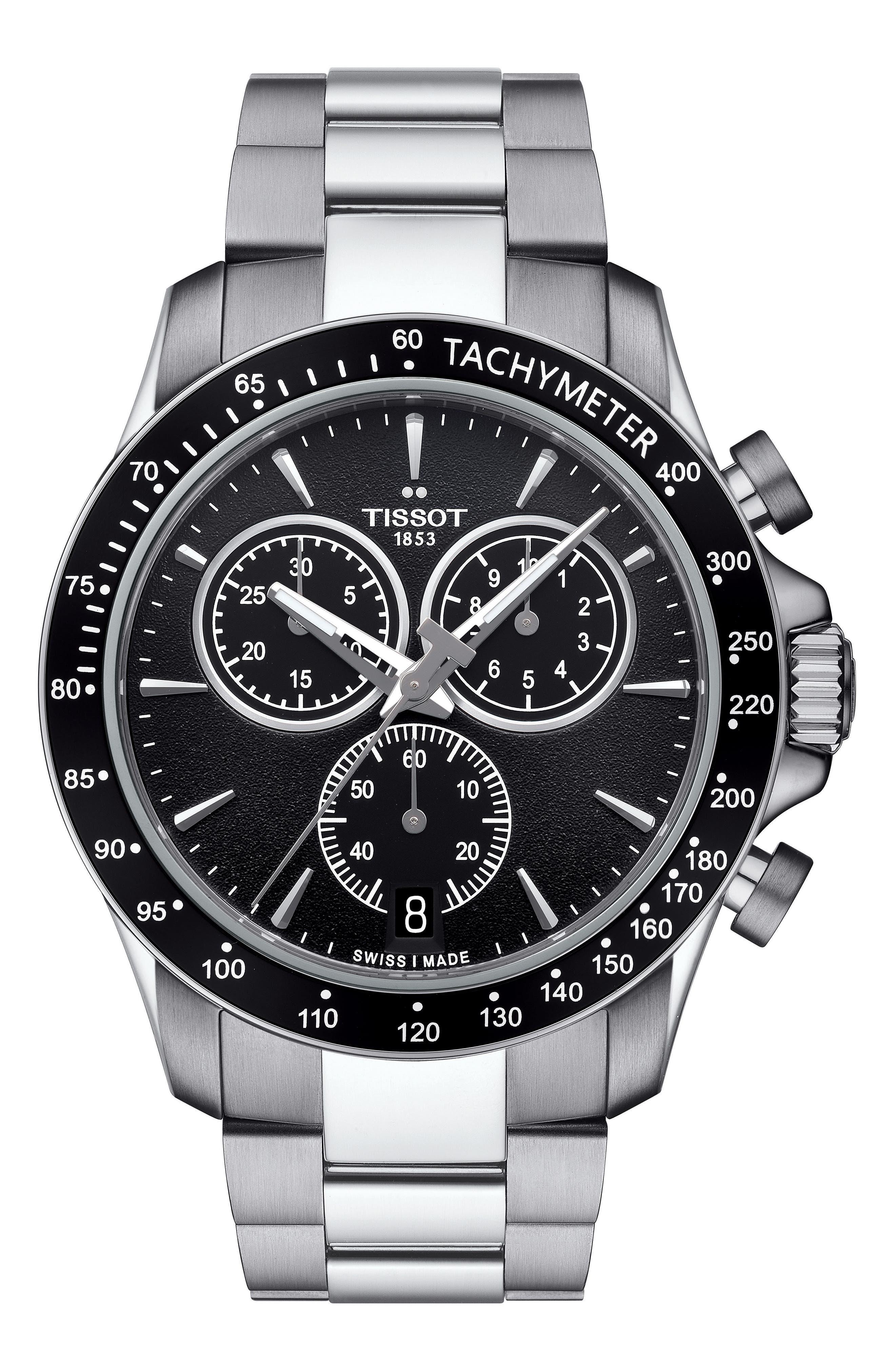 TISSOT, V8 Chronograph Bracelet Watch, 42.5mm, Main thumbnail 1, color, SILVER/ BLACK/ SILVER
