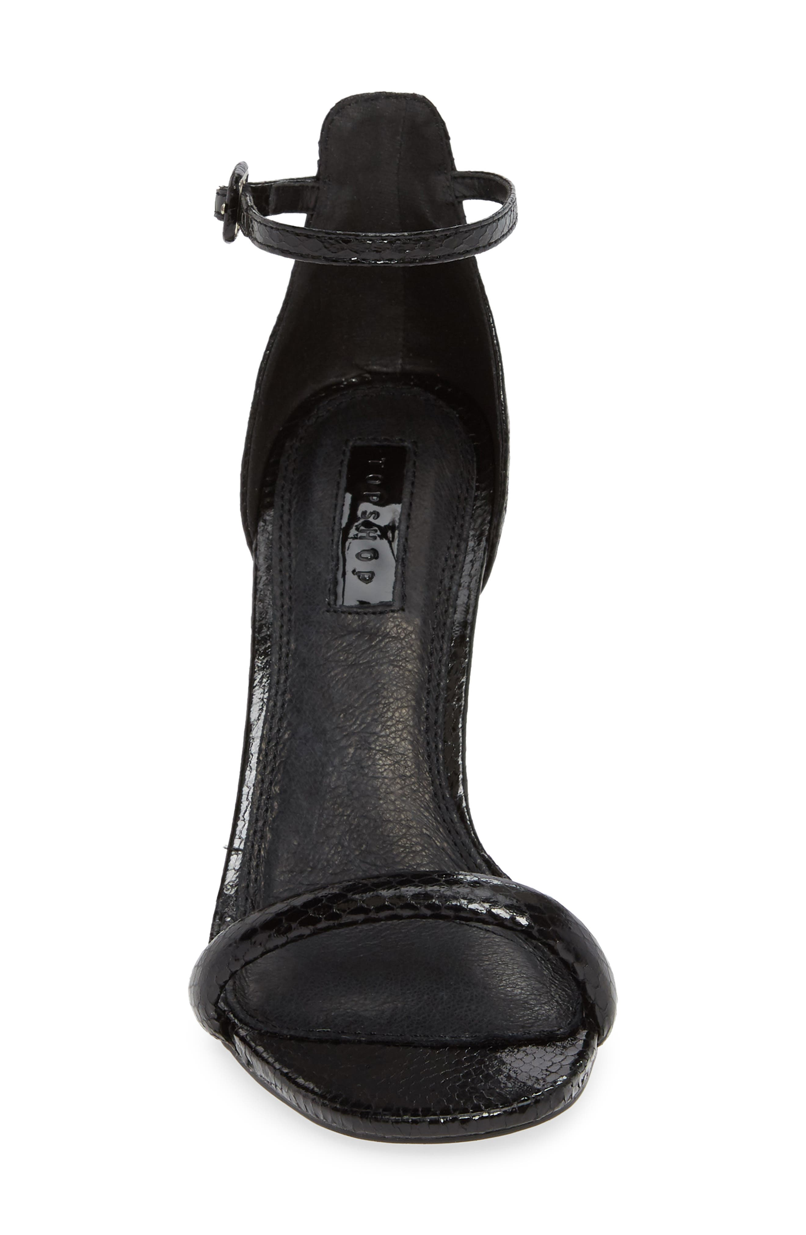 TOPSHOP, Robyn Ankle Strap Sandal, Alternate thumbnail 4, color, BLACK
