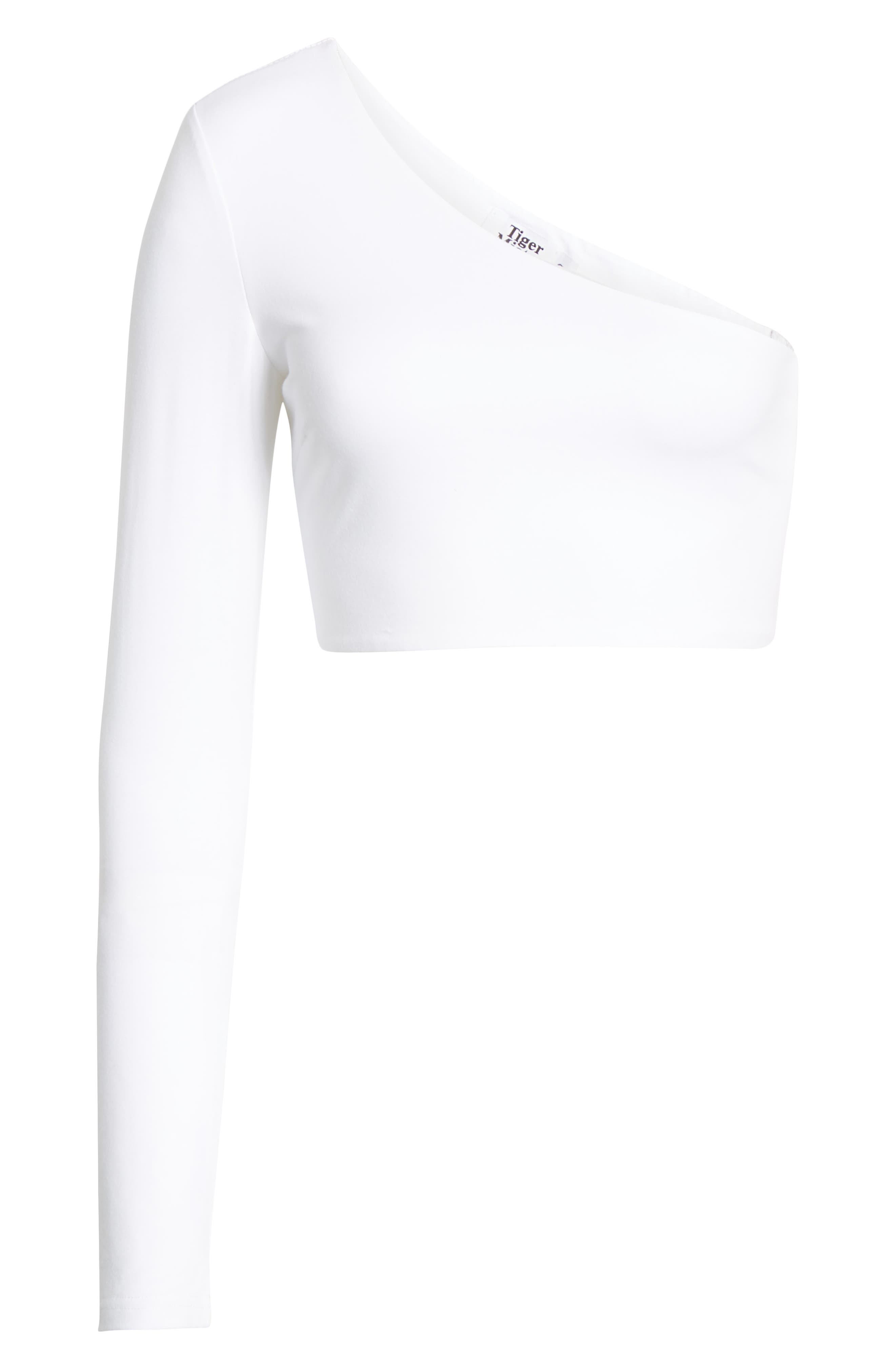 TIGER MIST,  Hatty One-Shoulder One-Sleeve Crop Top, Alternate thumbnail 6, color, 100