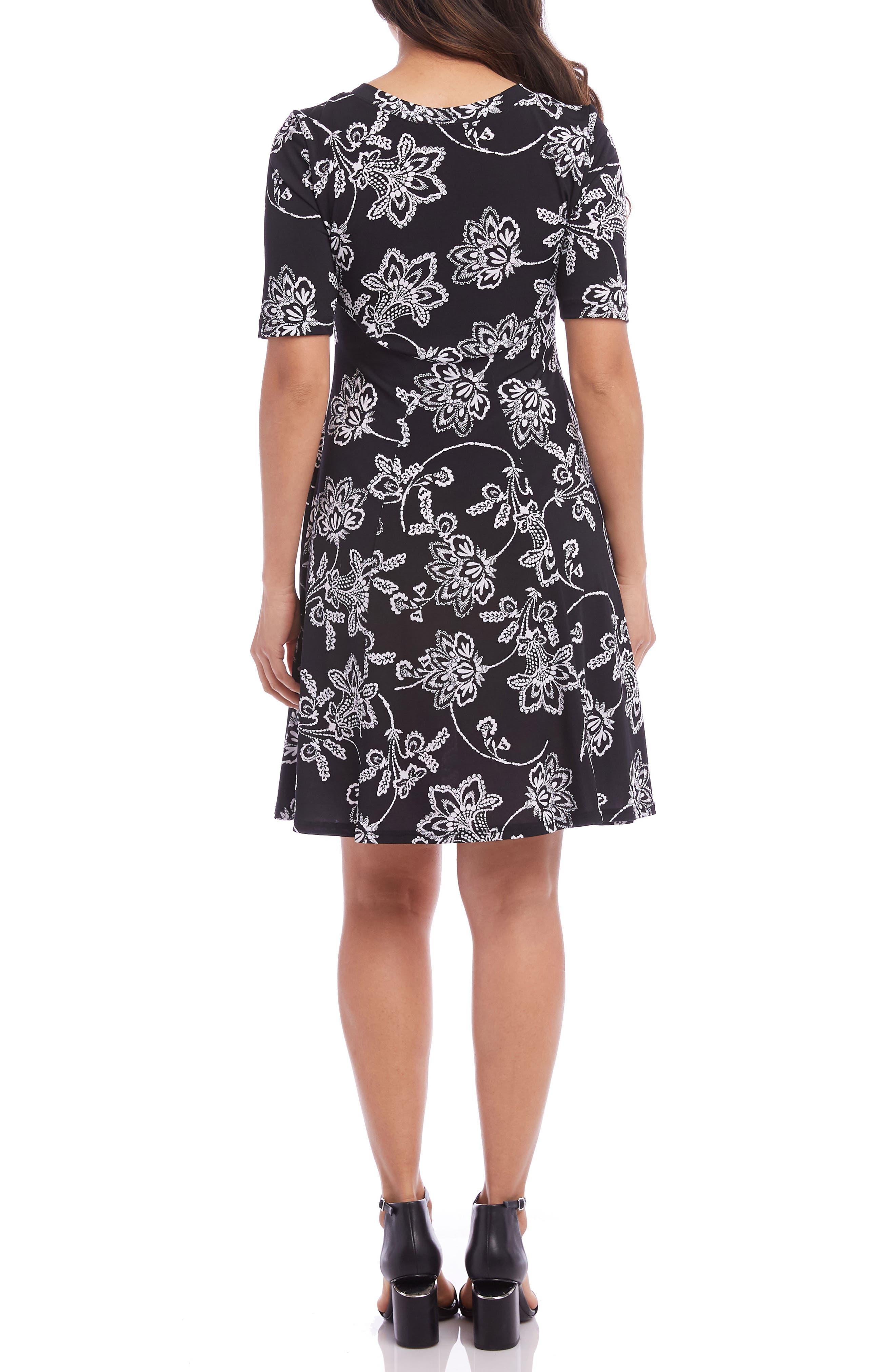 KAREN KANE, Printed A-Line Dress, Alternate thumbnail 2, color, BLACK WITH WHITE