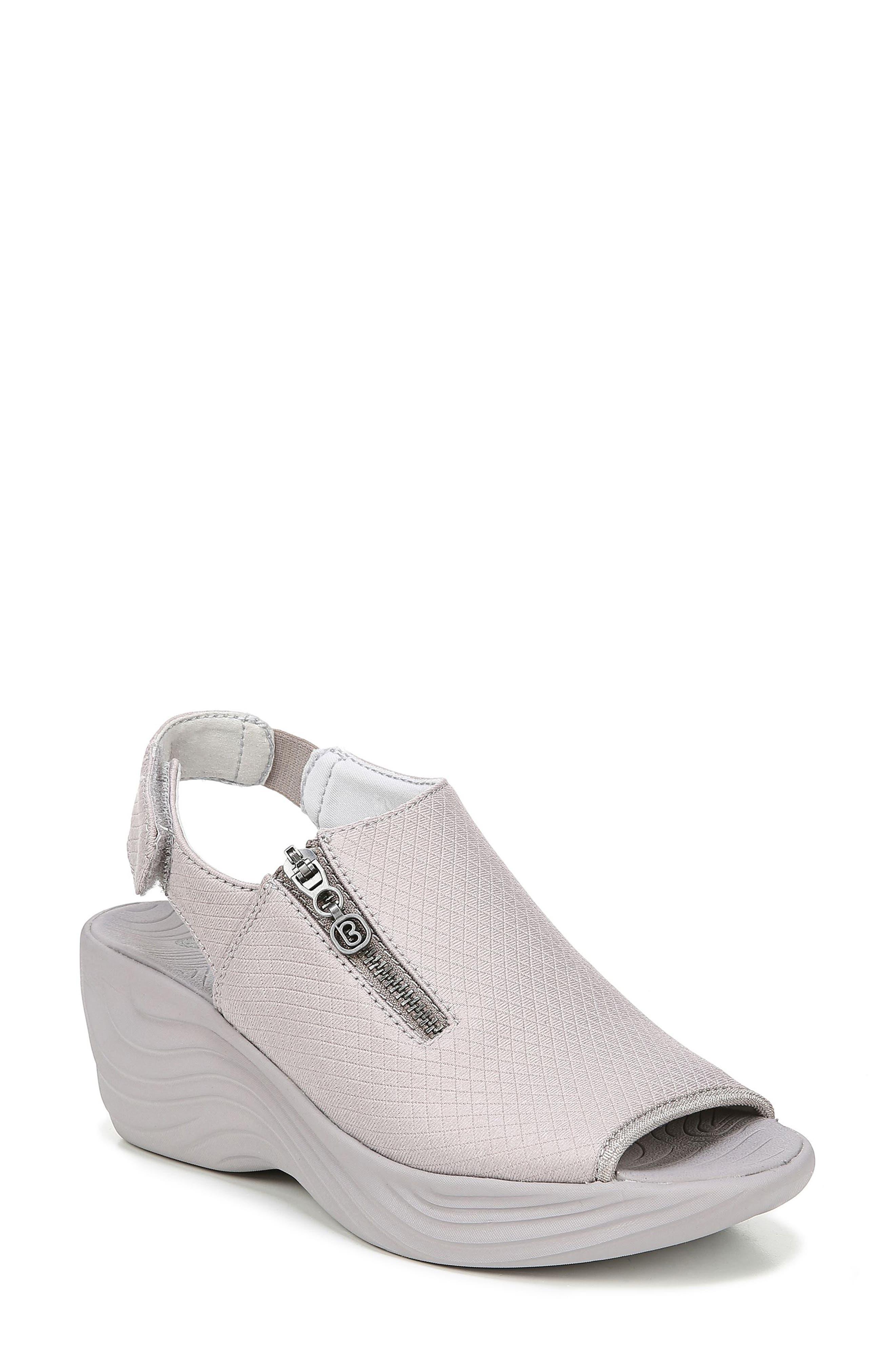 BZEES Zipline Wedge Sandal, Main, color, OPAL GRAY GRID FABRIC