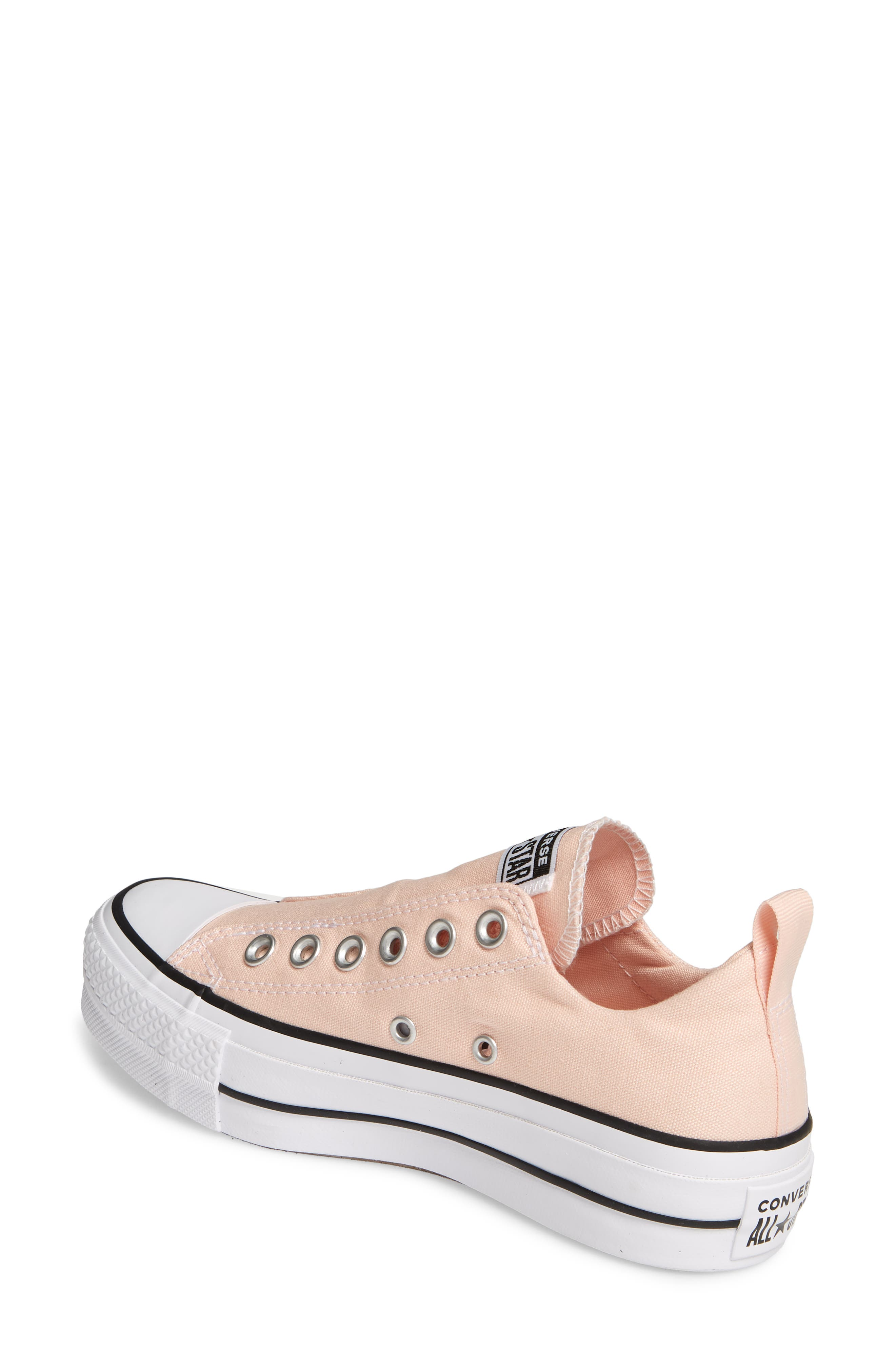 CONVERSE, Chuck Taylor<sup>®</sup> All Star<sup>®</sup> Lift Slip-On Sneaker, Alternate thumbnail 2, color, WASHED CORAL/ WHITE/ BLACK