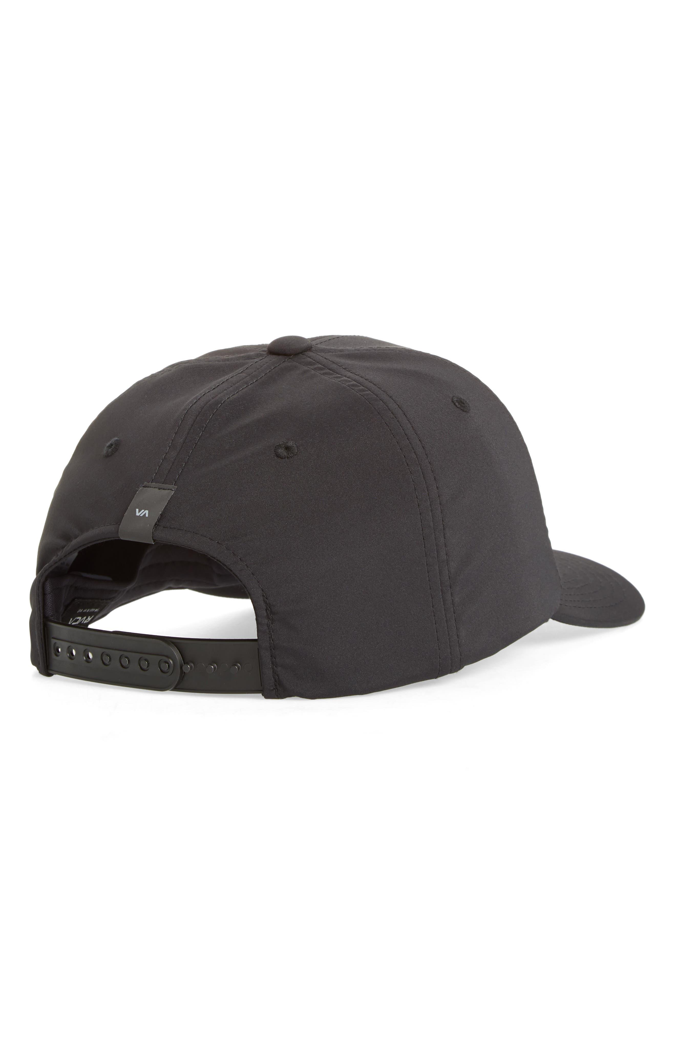 RVCA, VA Tech Snapback Baseball Cap, Alternate thumbnail 2, color, BLACK