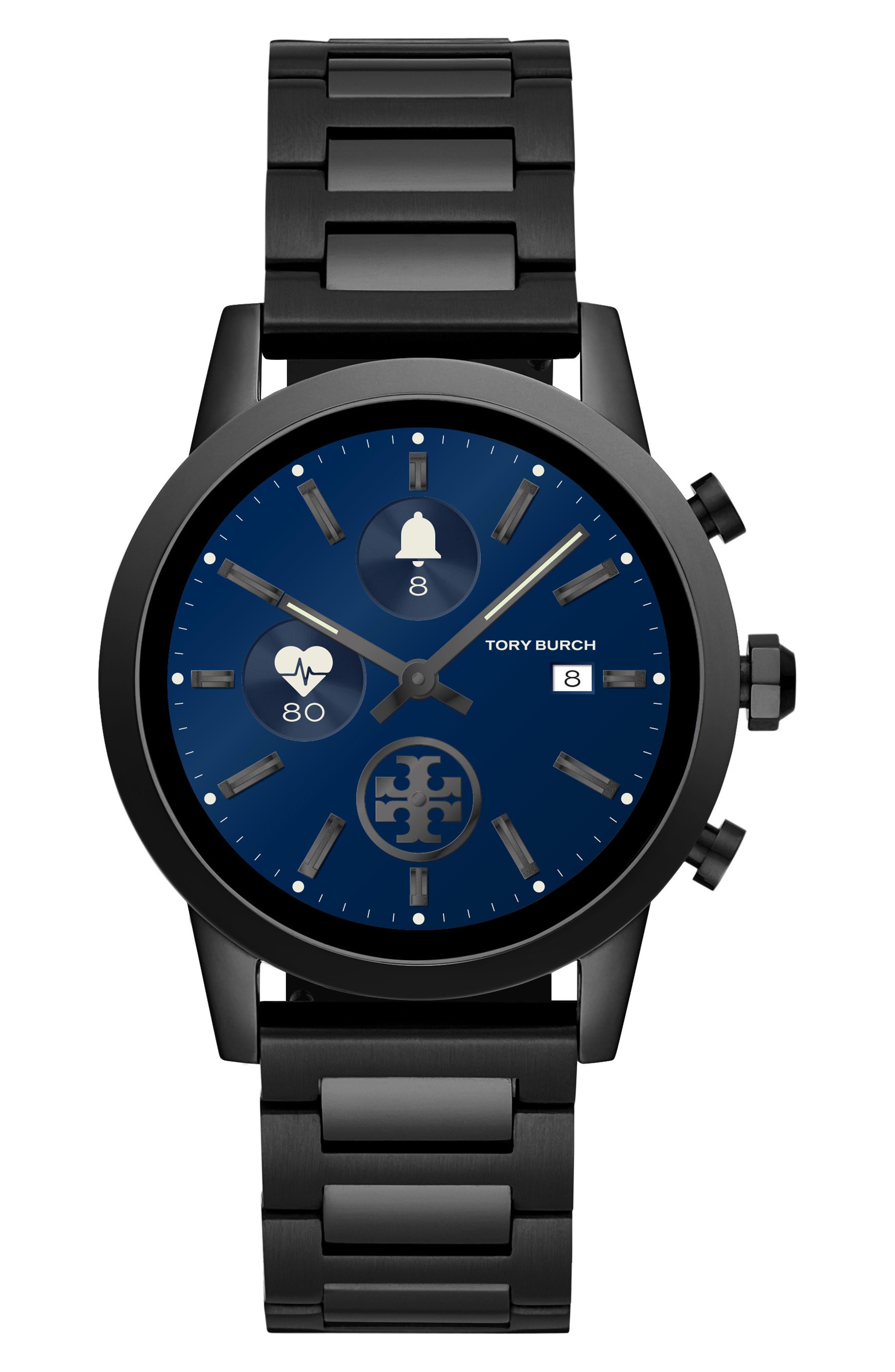 TORY BURCH, ToryTrack Gigi Touchscreen Smart Watch, 40mm, Main thumbnail 1, color, BLACK