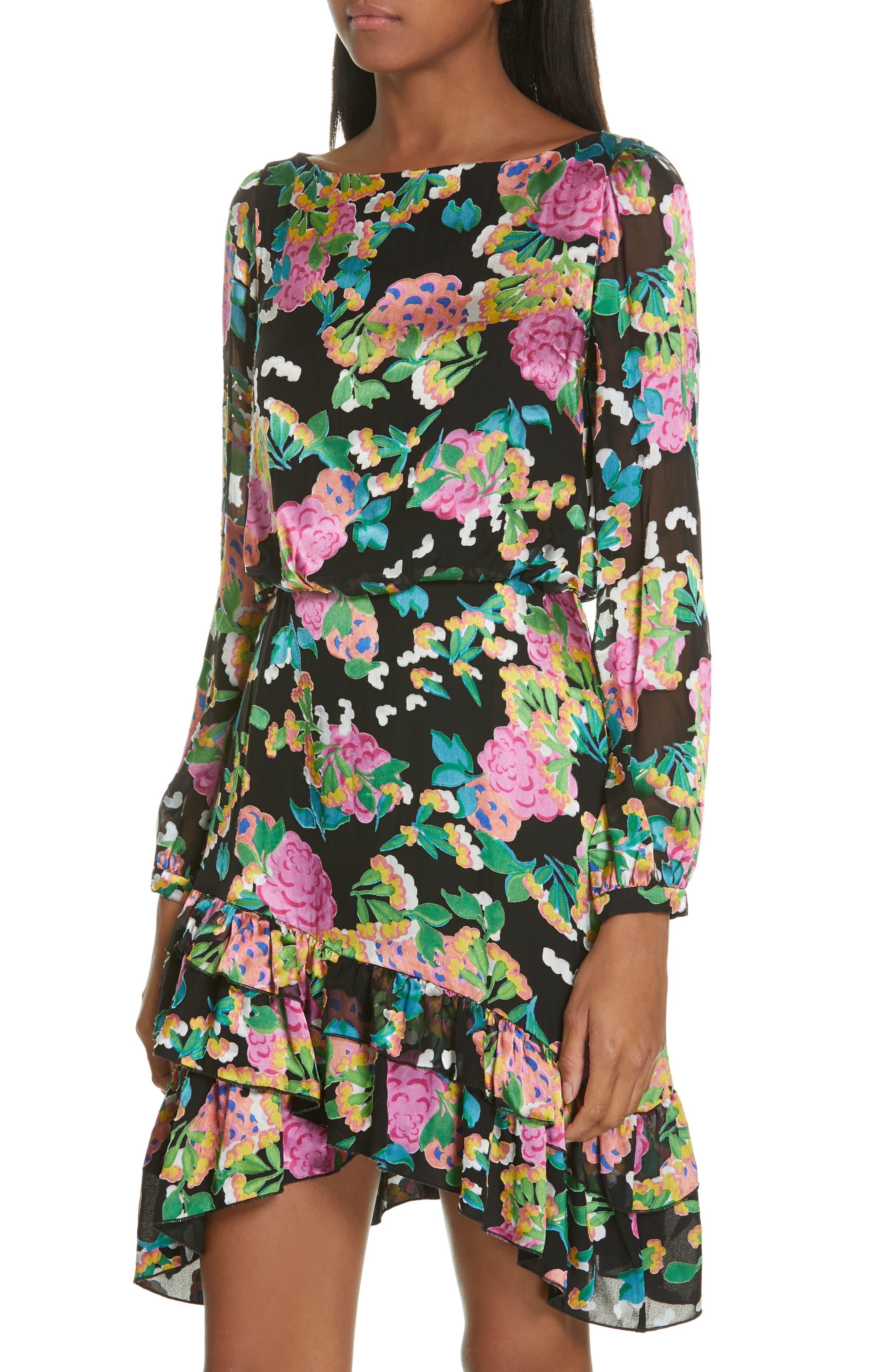 SALONI, Felicia Asymmetrical Silk Blend Dress, Alternate thumbnail 4, color, HYDRANGEA