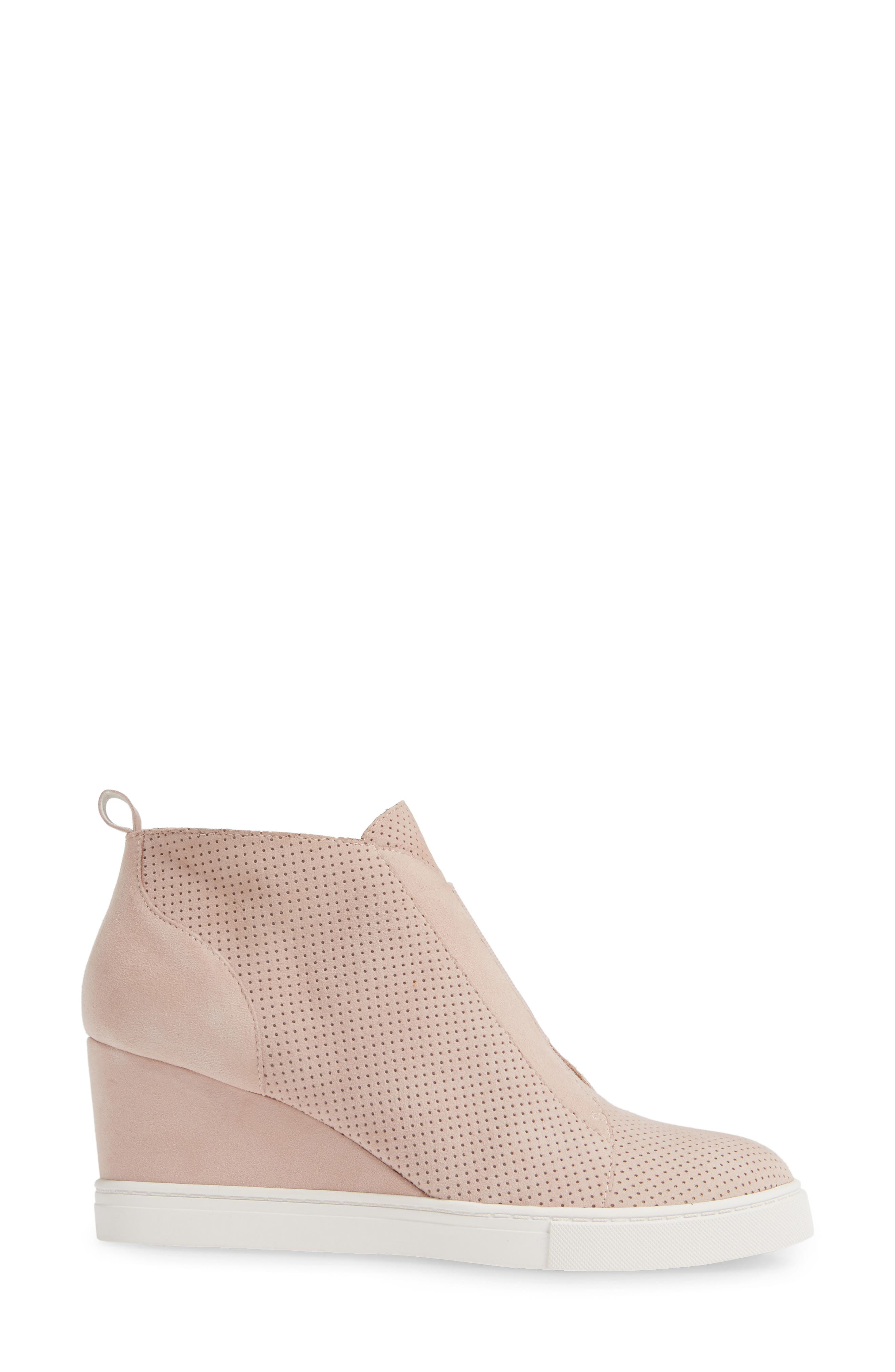 LINEA PAOLO, Felicia Wedge Bootie, Alternate thumbnail 3, color, BLUSH PERFORATED SUEDE