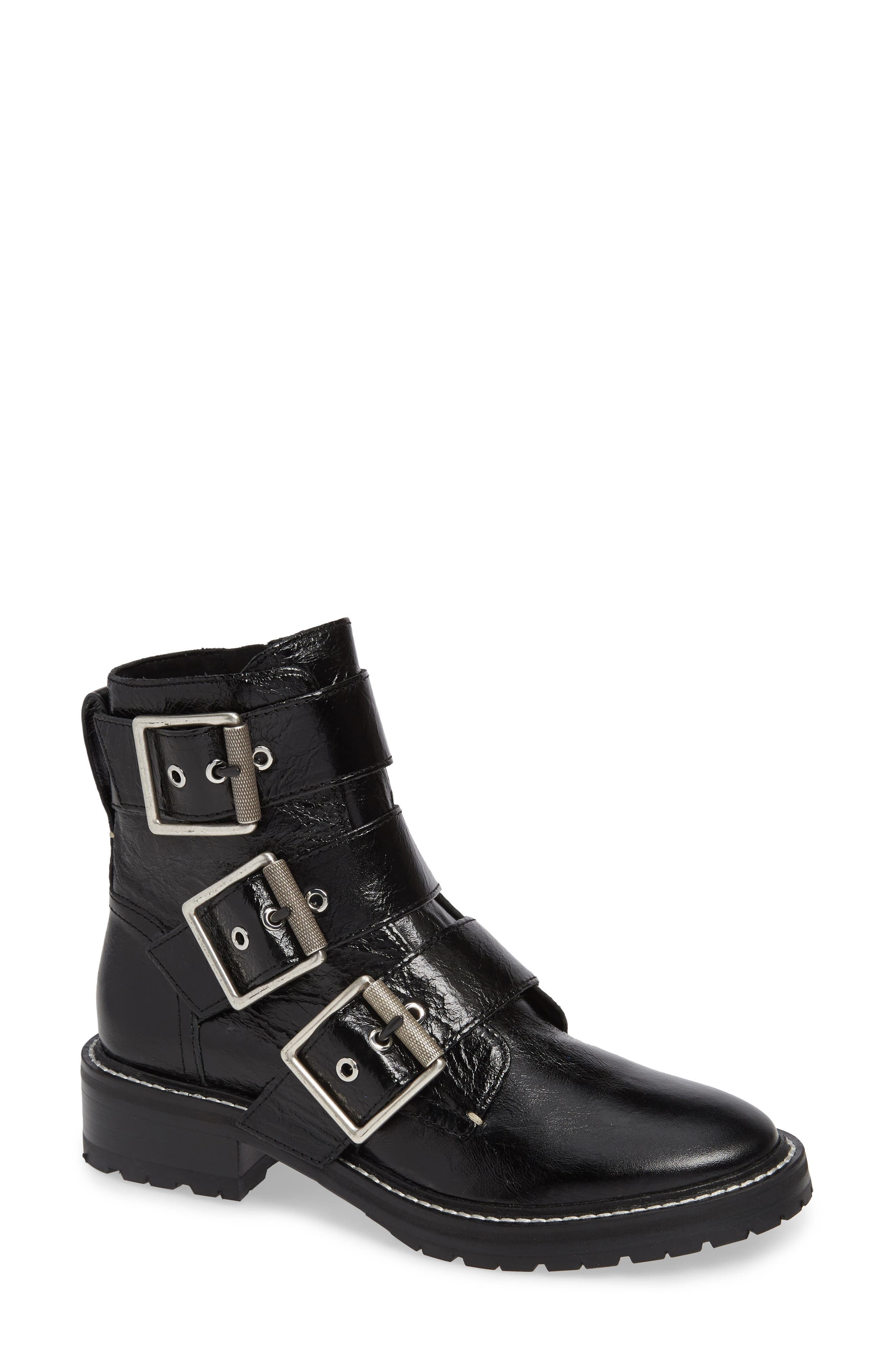Rag & Bone Cannon Buckle Moto Boot, Black