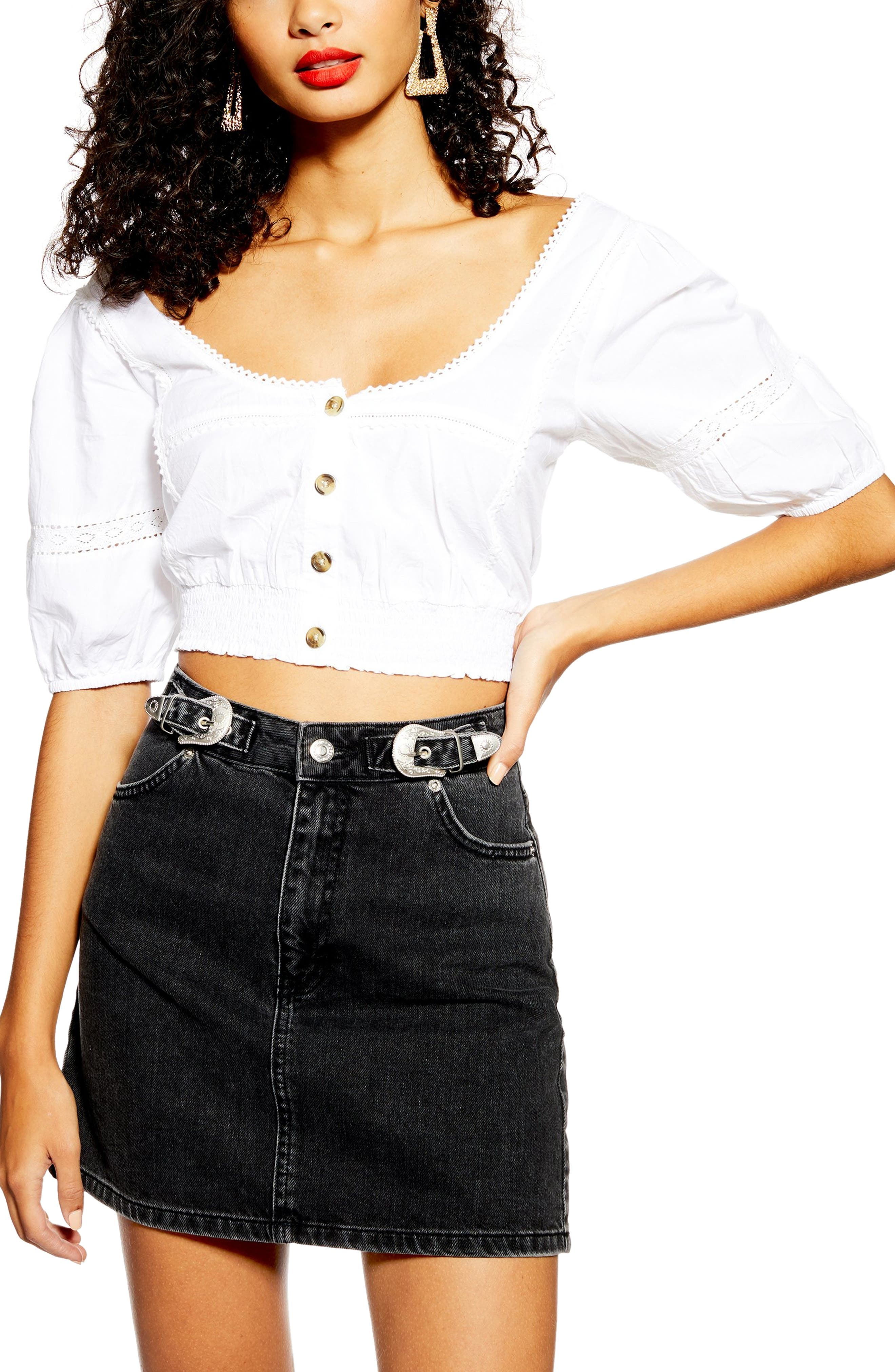 TOPSHOP, Buckle Denim Skirt, Alternate thumbnail 4, color, 002