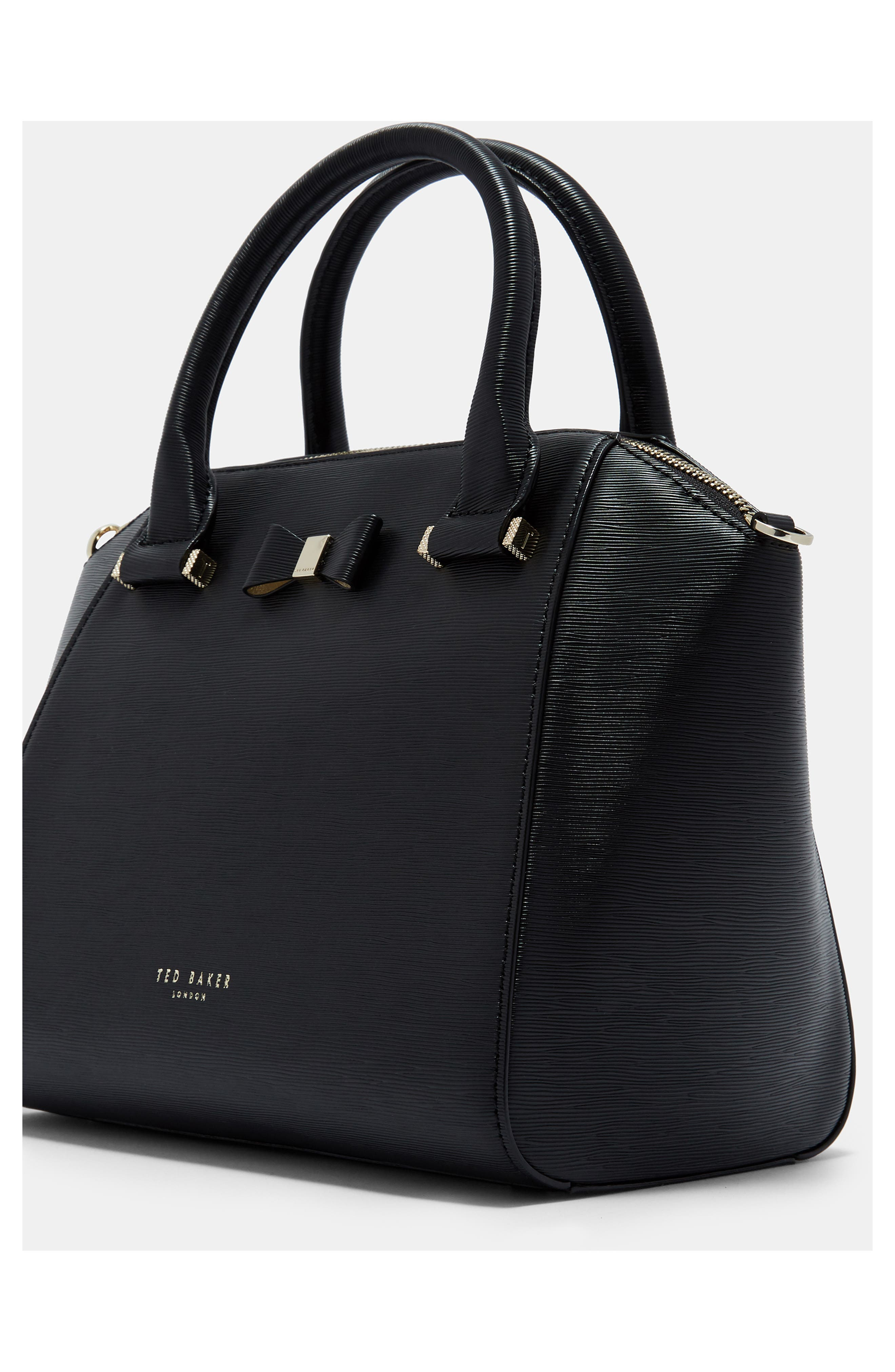 TED BAKER LONDON, Bow Tote, Alternate thumbnail 8, color, 001