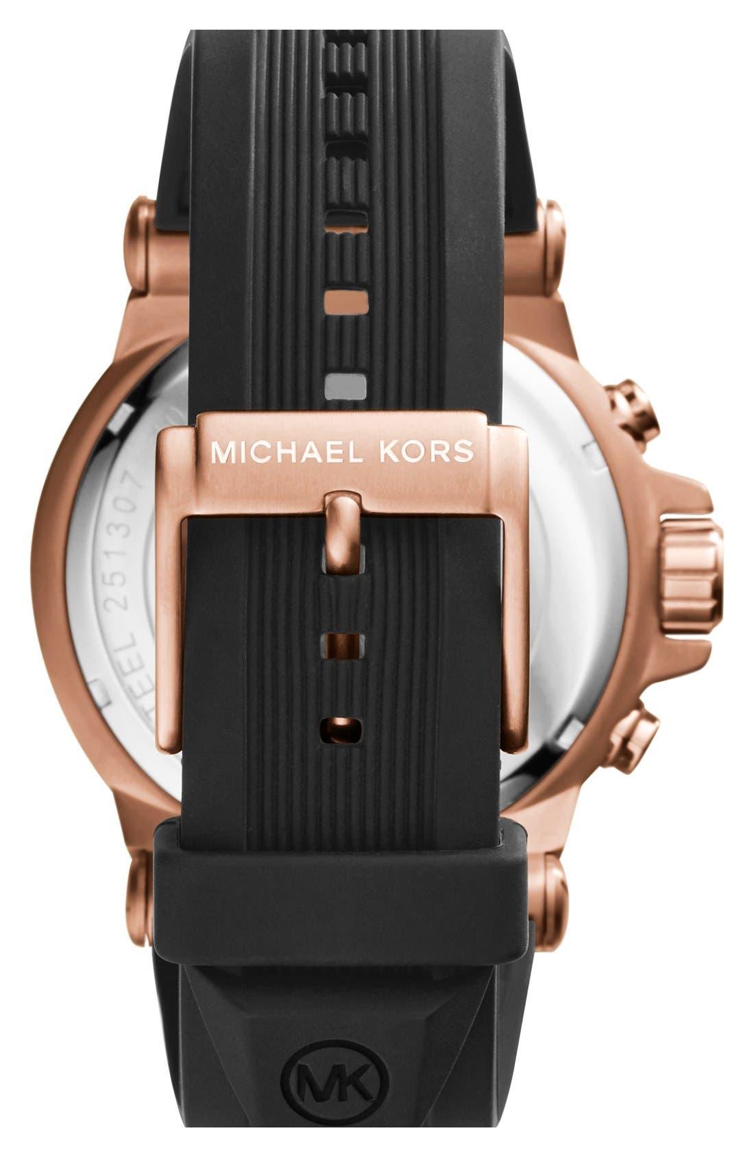 MICHAEL KORS, Chronograph Watch, 45mm, Alternate thumbnail 2, color, ROSE GOLD/ BLACK