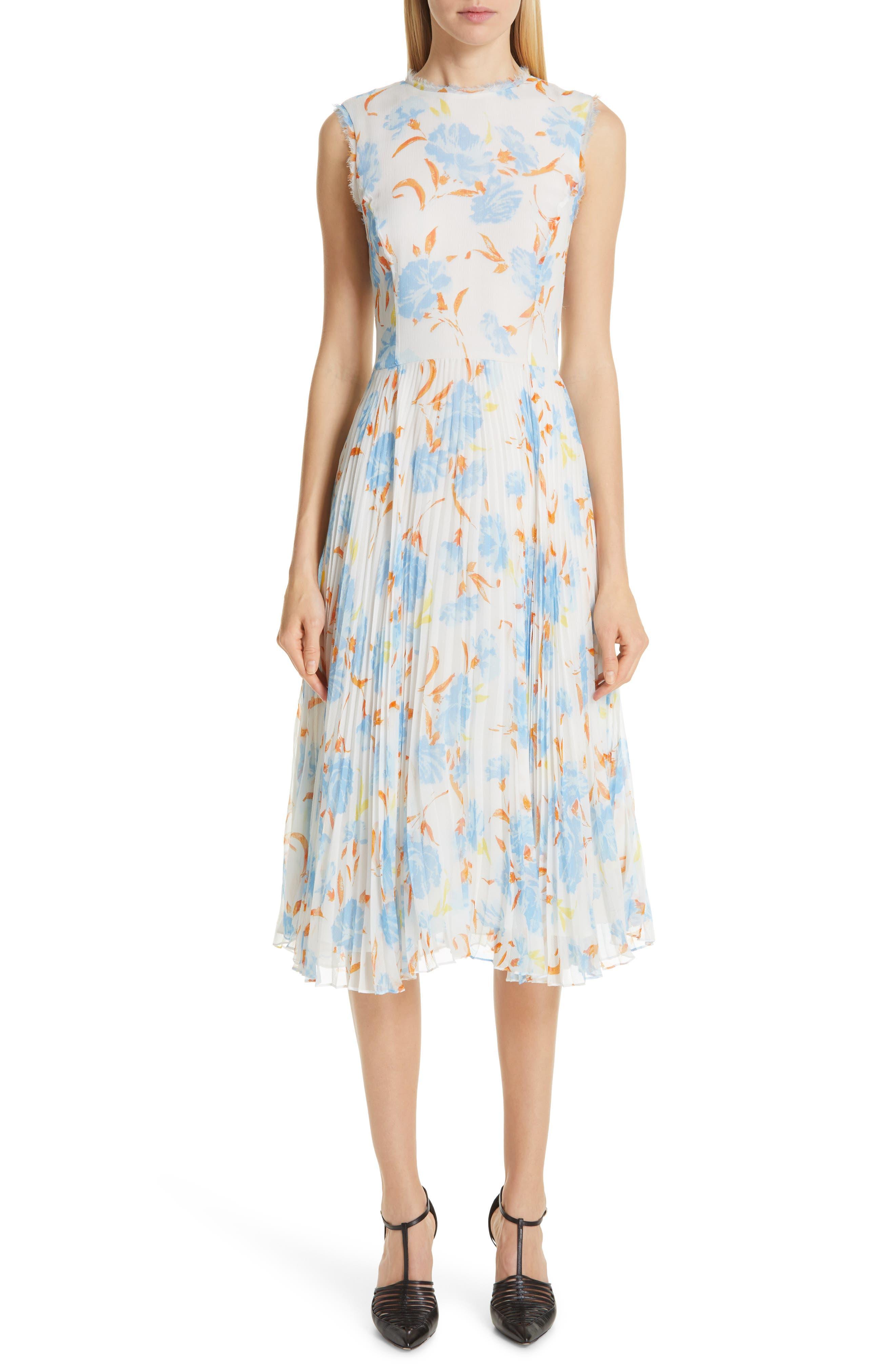 Jason Wu Collection Floral Print Chiffon Midi Dress, White