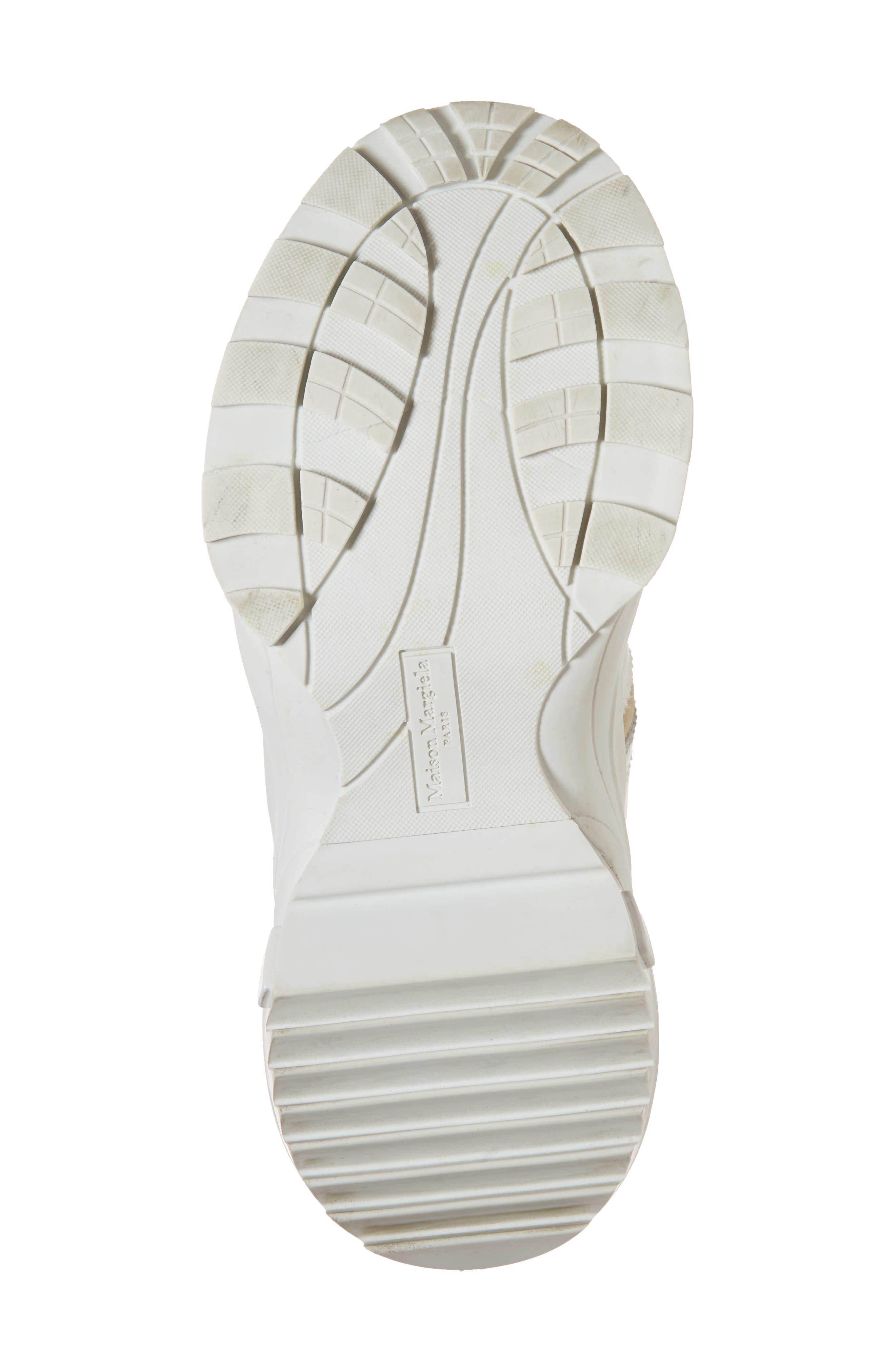 MAISON MARGIELA, Retro Fit Destroyed Sneaker, Alternate thumbnail 6, color, WHITE