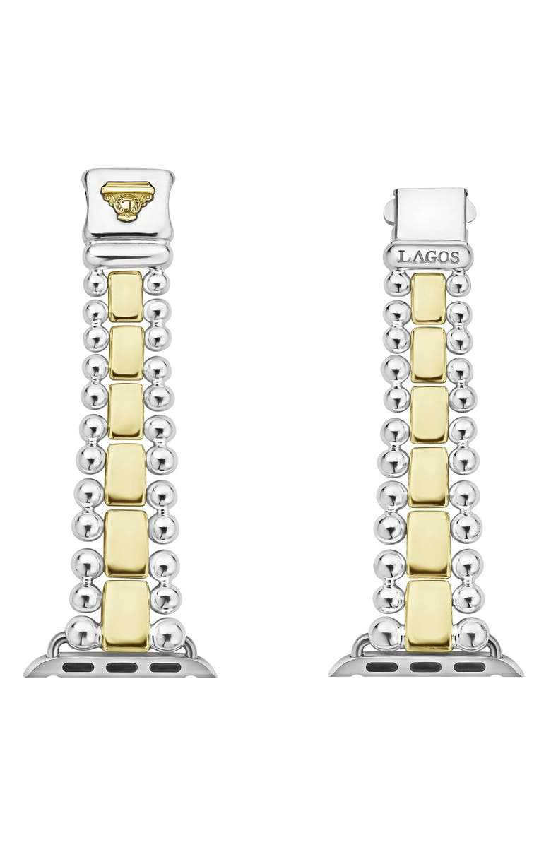 Lagos Watches SMART CAVIAR STERLING SILVER & 18K GOLD BAND FOR APPLE WATCH