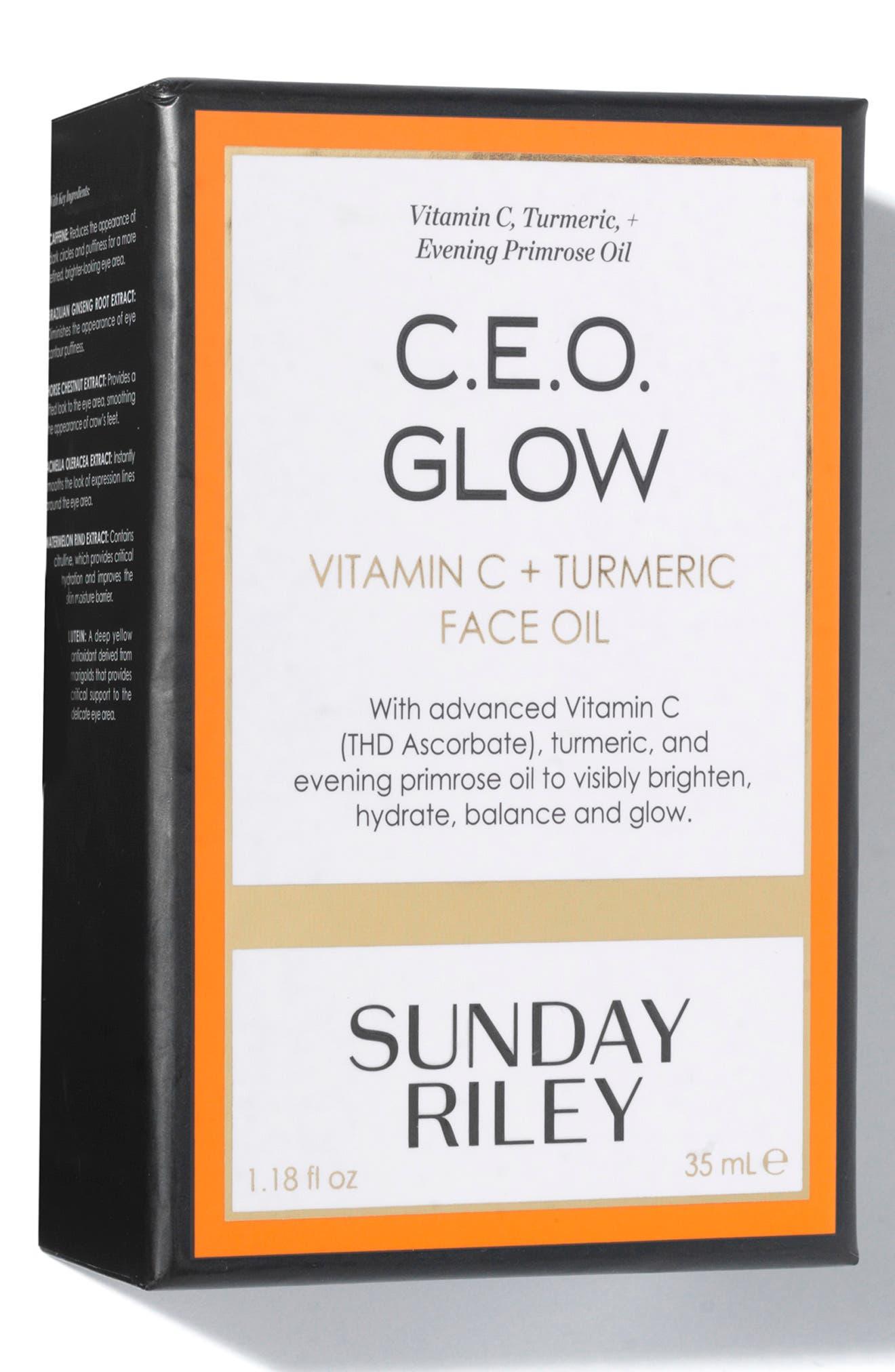 SUNDAY RILEY, SPACE.NK.apothecary Sunday Riley C.E.O. Glow Vitamin C + Turmeric Face Oil, Alternate thumbnail 4, color, NO COLOR