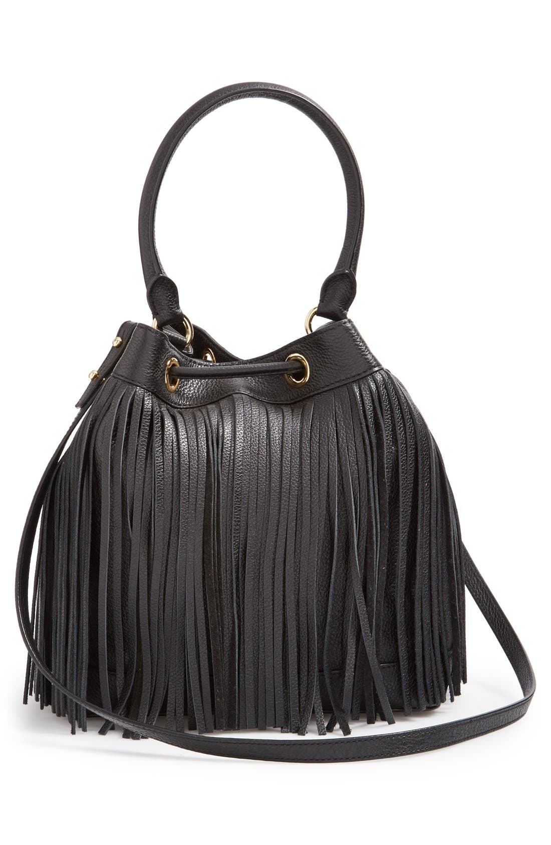 MILLY, 'Essex' Fringed Leather Bucket Bag, Alternate thumbnail 6, color, 001