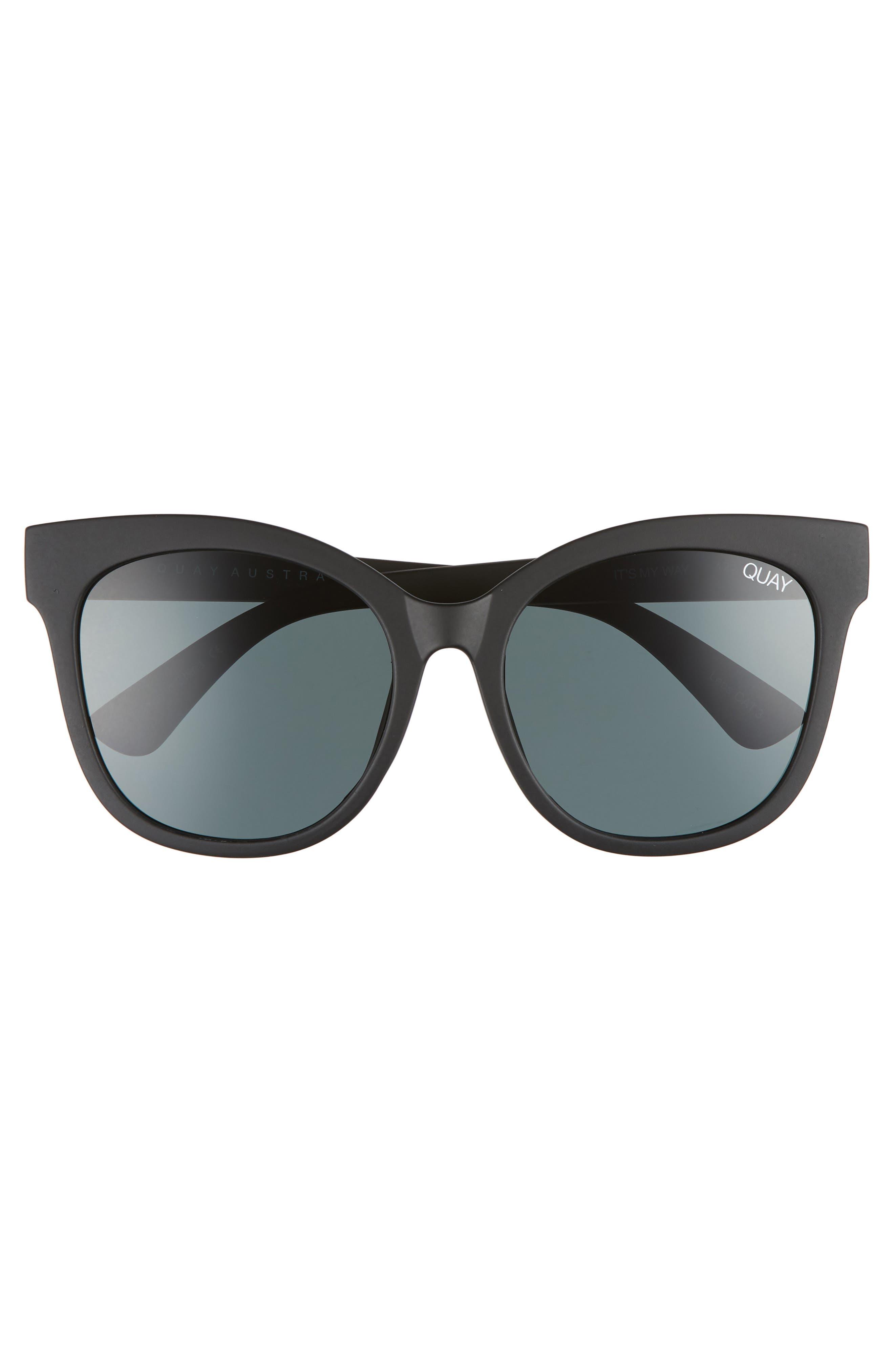 QUAY AUSTRALIA, It's My Way 55mm Sunglasses, Alternate thumbnail 3, color, BLACK/ SMOKE