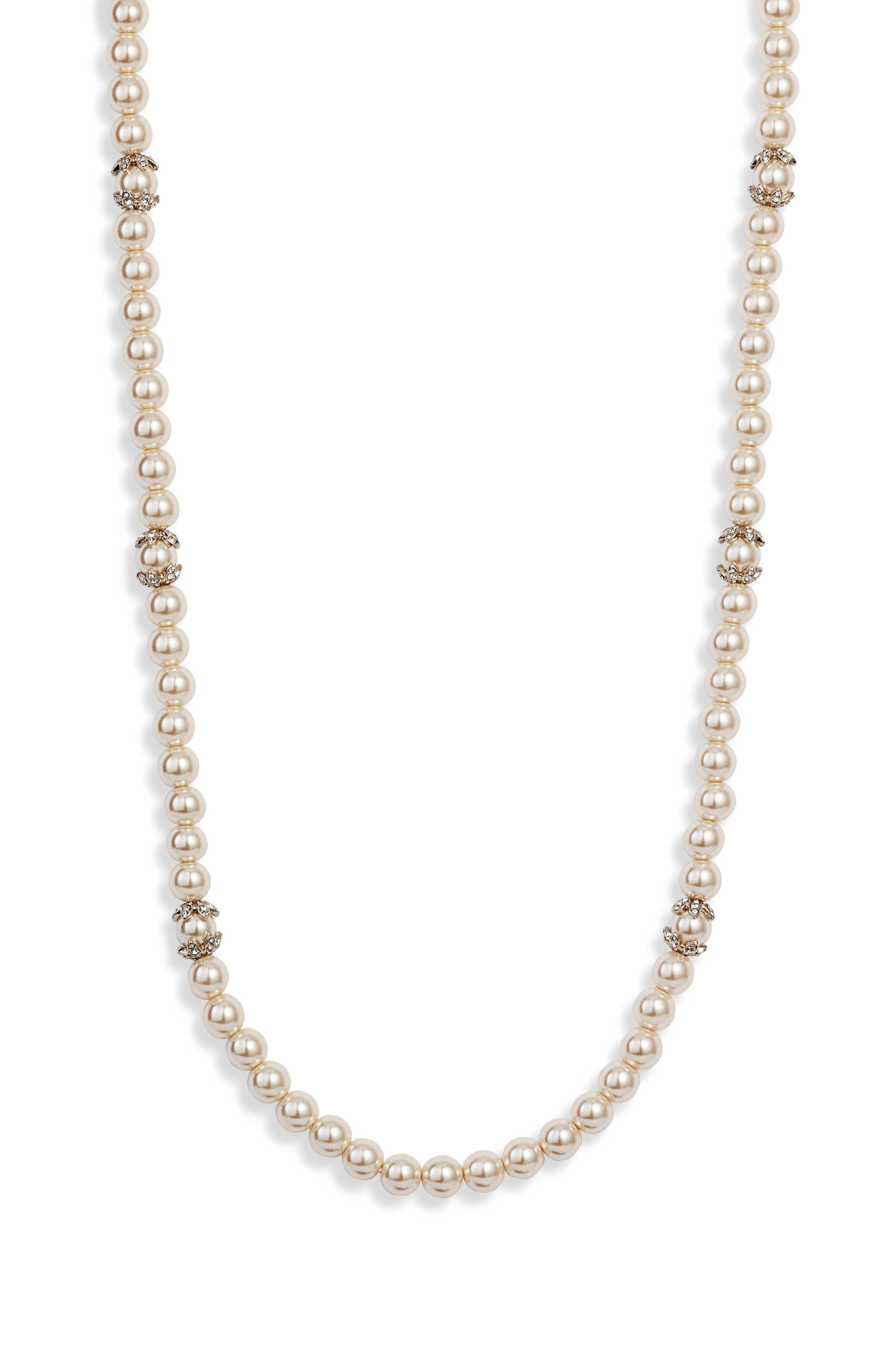 MARCHESA, Long Imitation Pearl Strand Necklace, Alternate thumbnail 3, color, BLUSH/ GOLD