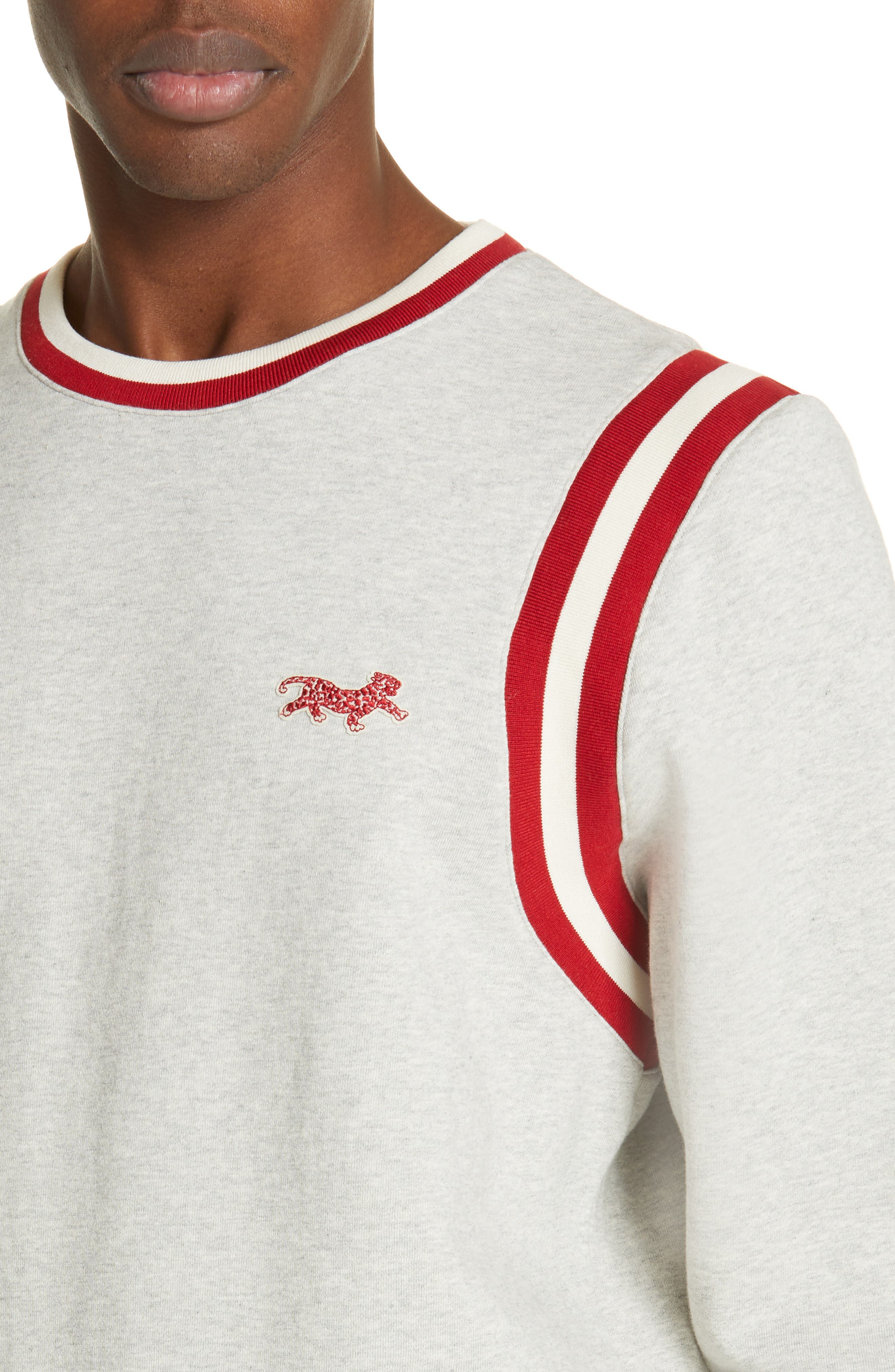 OVADIA & SONS, Varsity Sweatshirt, Alternate thumbnail 4, color, HEATHER GREY/RED