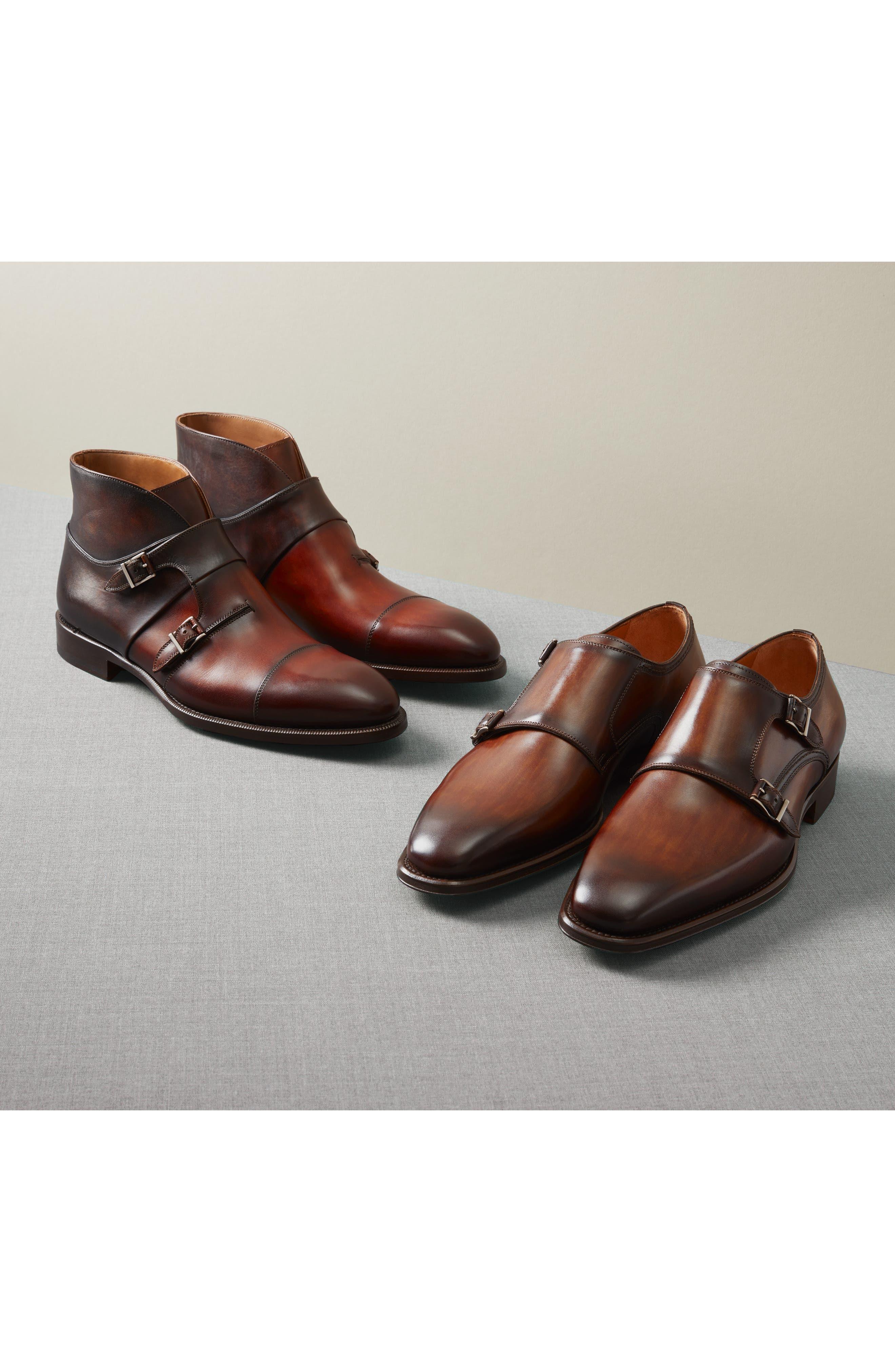 MAGNANNI, Landon Double Strap Monk Shoe, Alternate thumbnail 7, color, MID BROWN