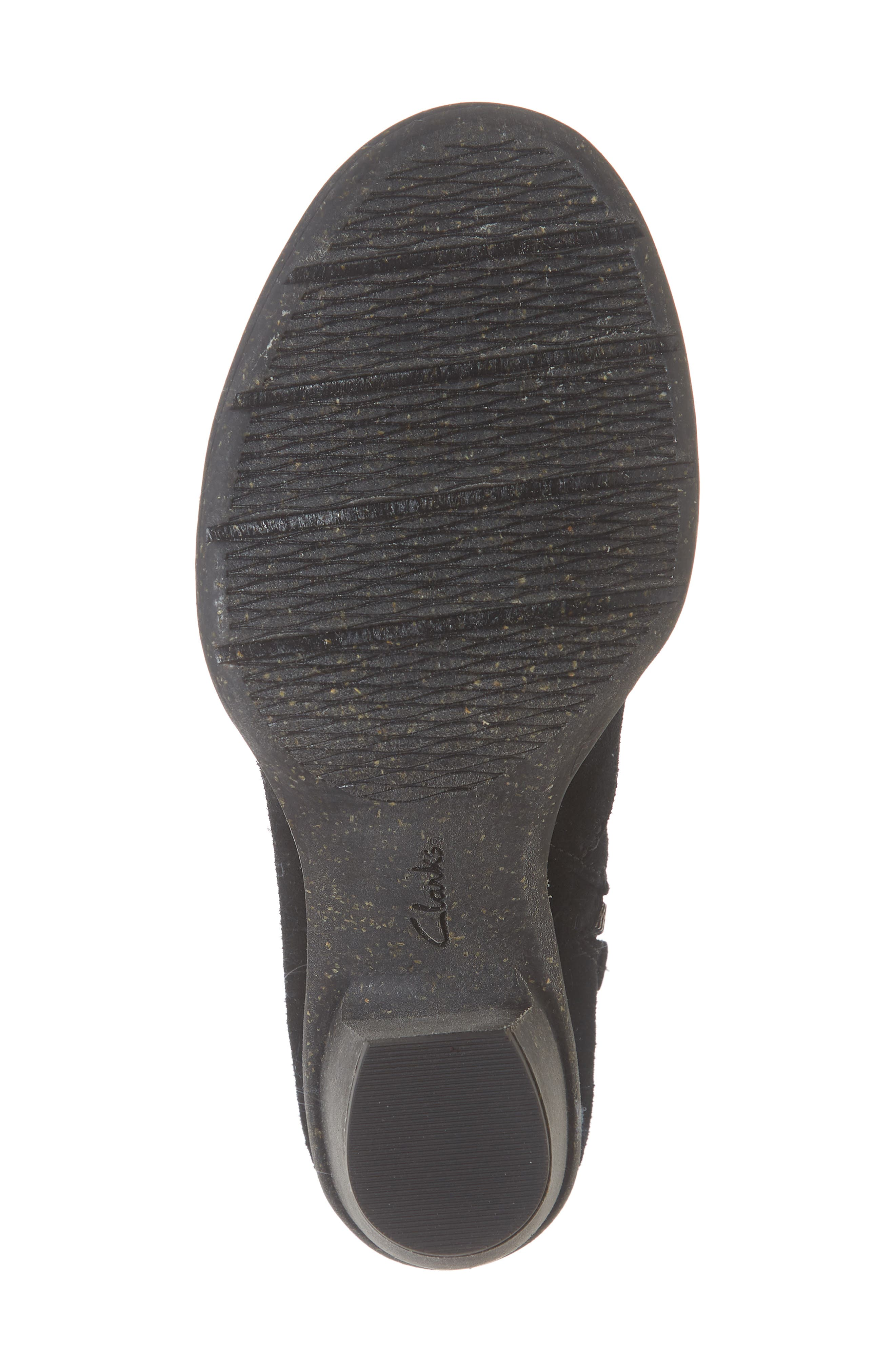 CLARKS<SUP>®</SUP>, Carleta York Bootie, Alternate thumbnail 6, color, BLACK SUEDE