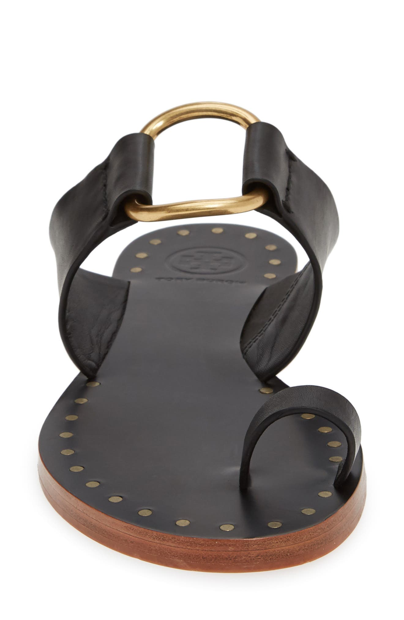 TORY BURCH, Ravello Toe Ring Sandal, Alternate thumbnail 4, color, PERFECT BLACK/ GOLD
