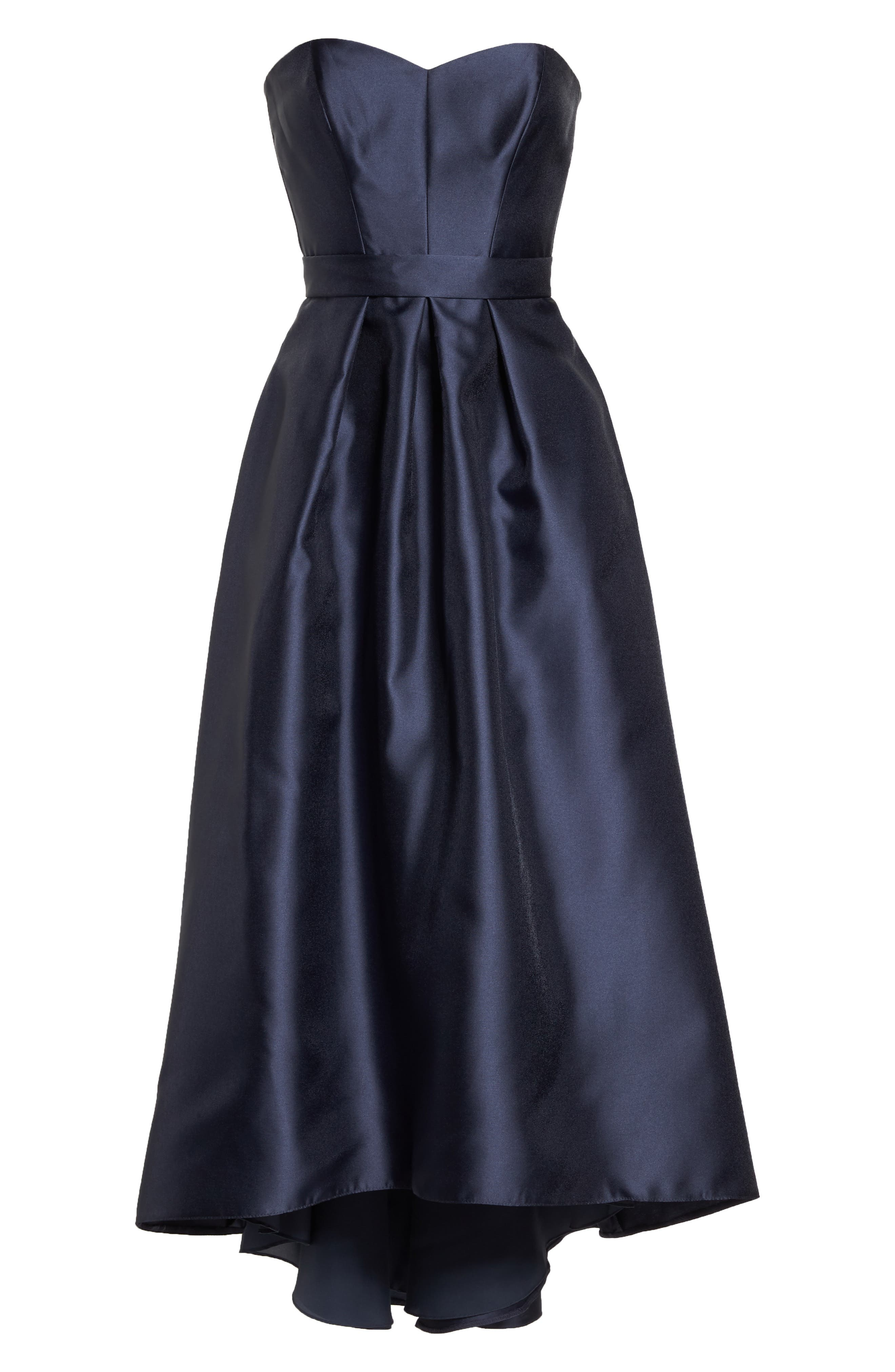 ALFRED SUNG, Strapless High/Low Satin Twill Ballgown, Alternate thumbnail 5, color, ONYX