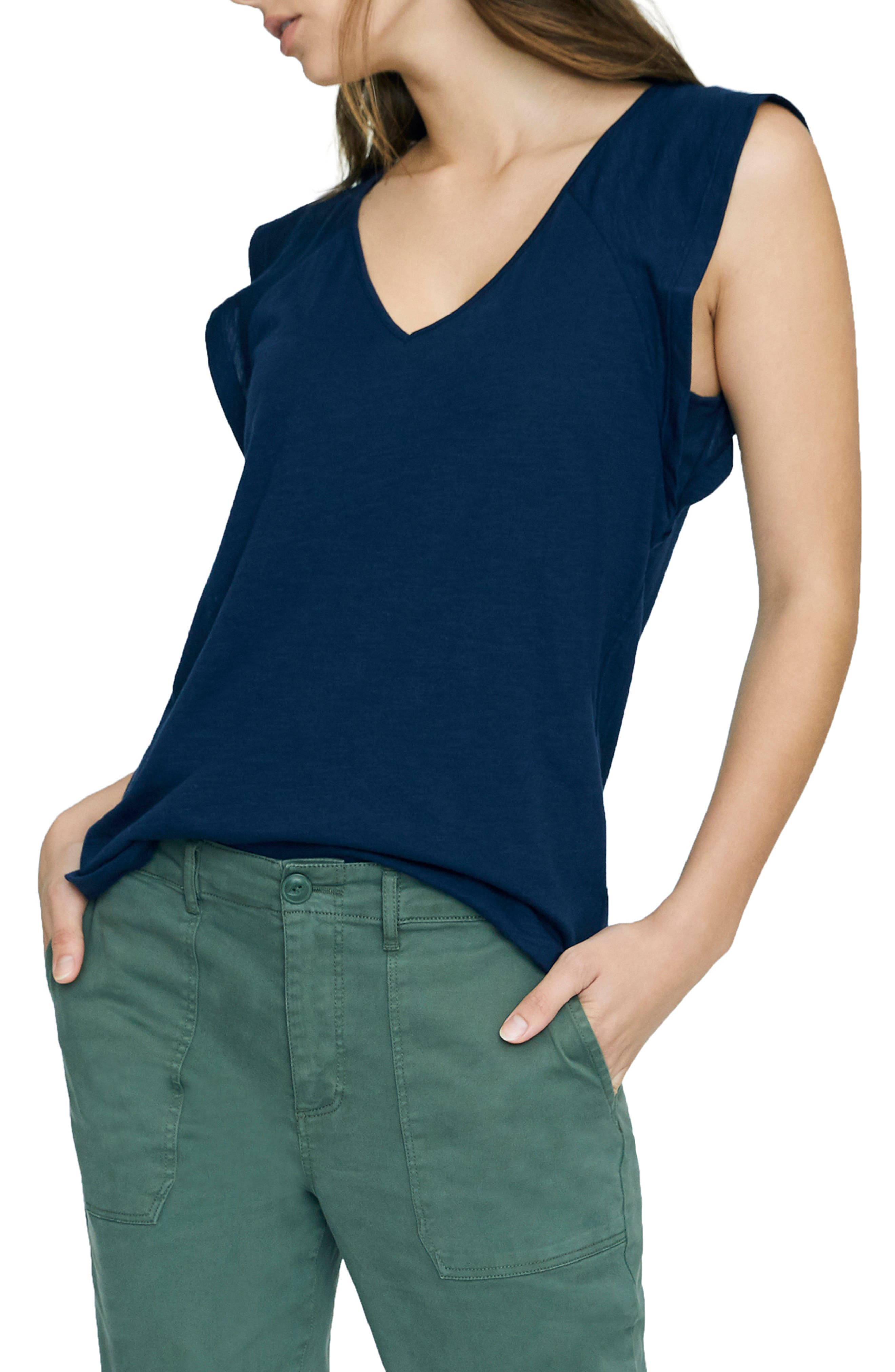 SANCTUARY, Lily Flutter Sleeve Tee, Alternate thumbnail 3, color, NAVY BLOOM
