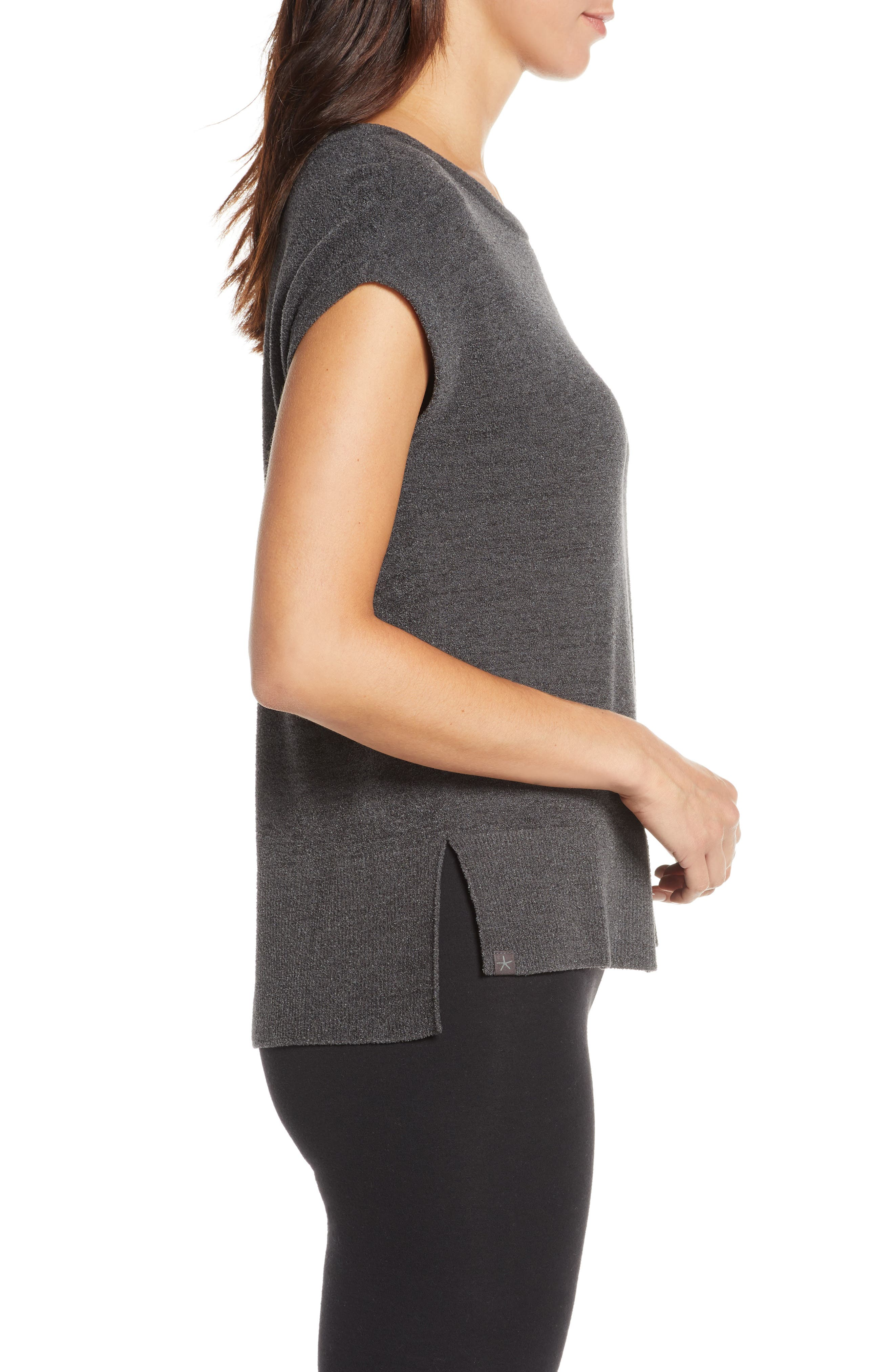 BAREFOOT DREAMS<SUP>®</SUP>, CozyChic Ultra Lite<sup>®</sup> Lounge Tee, Alternate thumbnail 3, color, CARBON