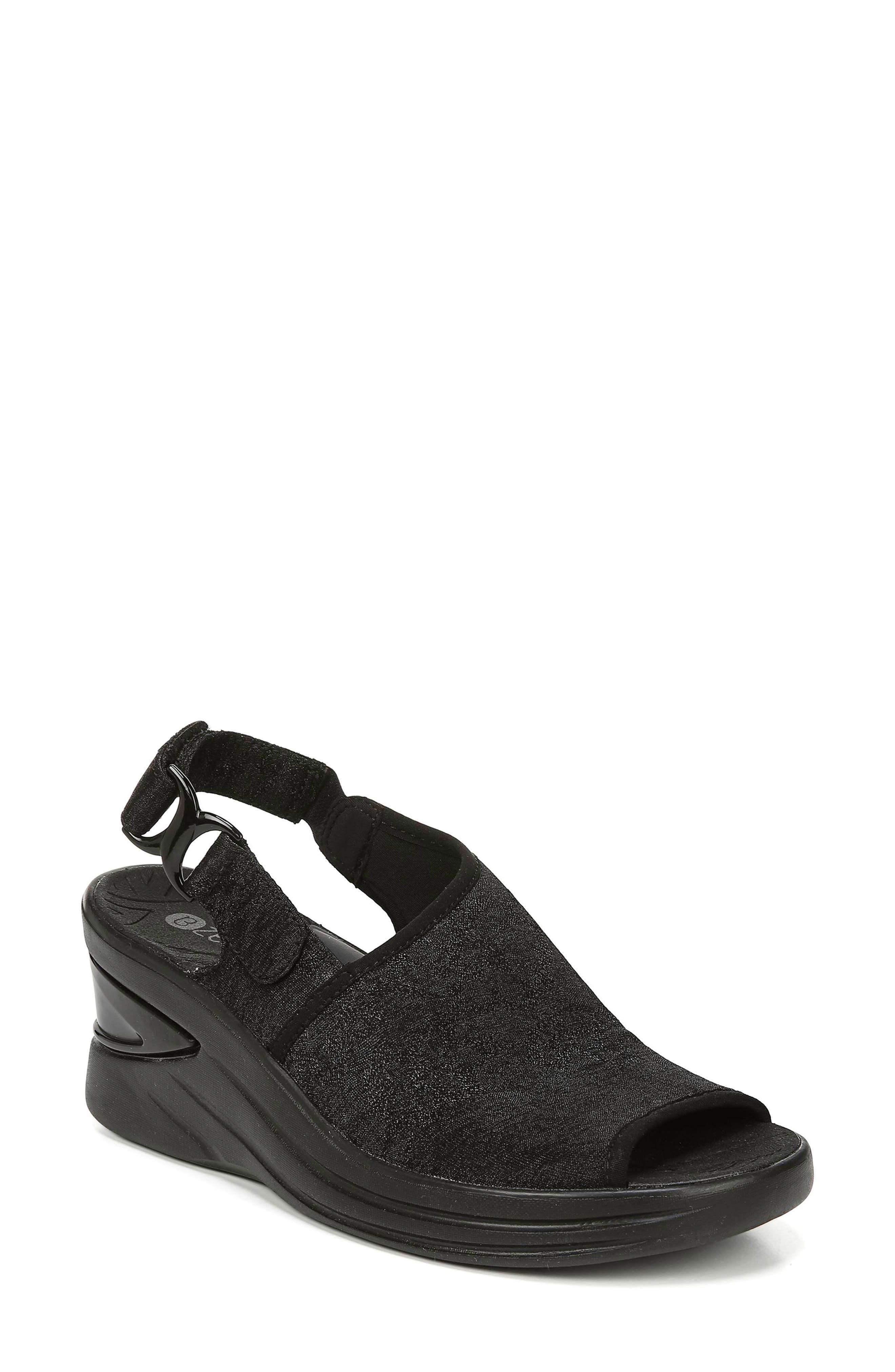 BZEES, Vivia Slingback Wedge Sandal, Main thumbnail 1, color, BLACK FABRIC
