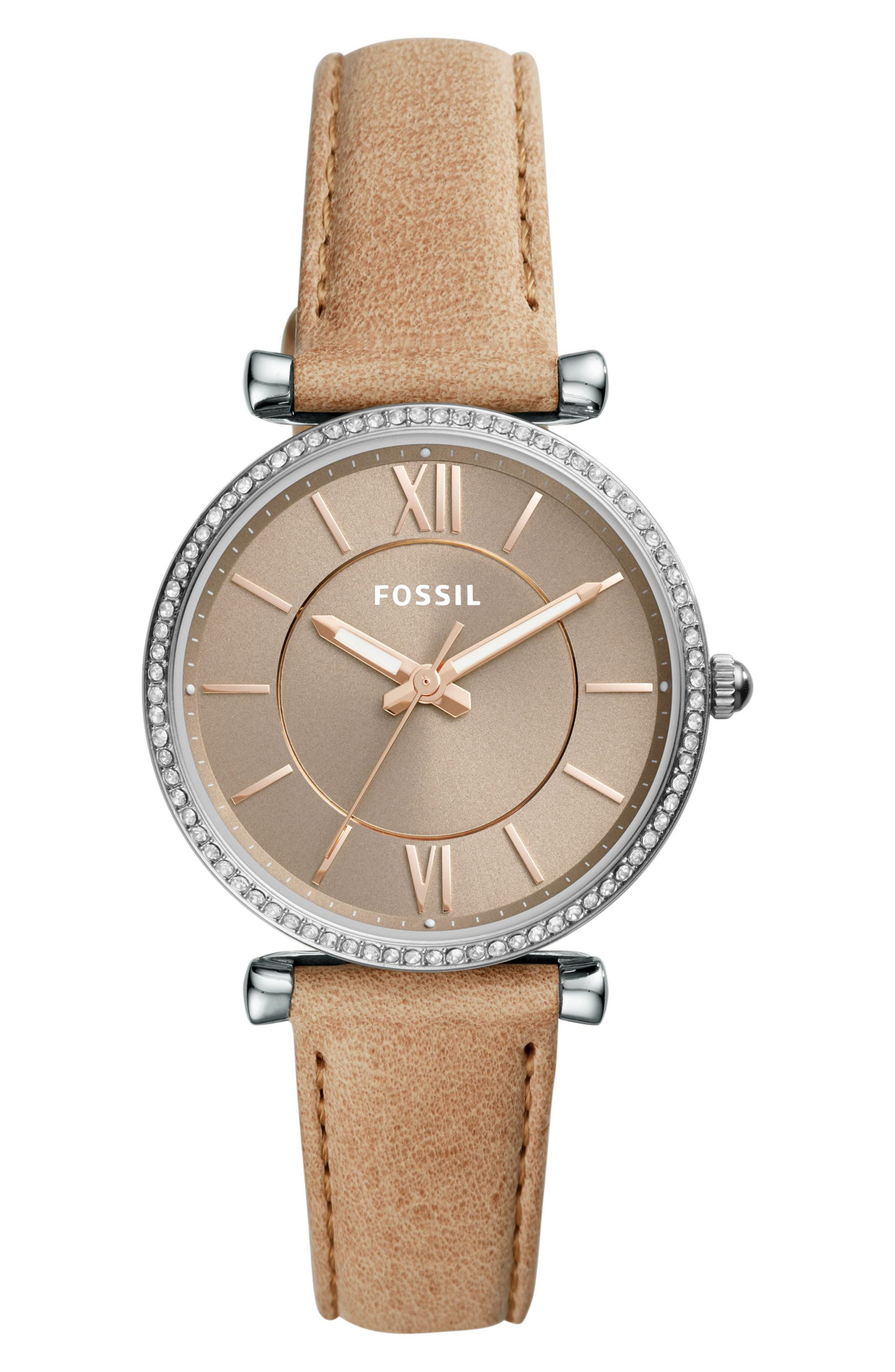 FOSSIL Carlie T-Bar Crystal Leather Strap Watch, 35mm, Main, color, BROWN/ SILVER