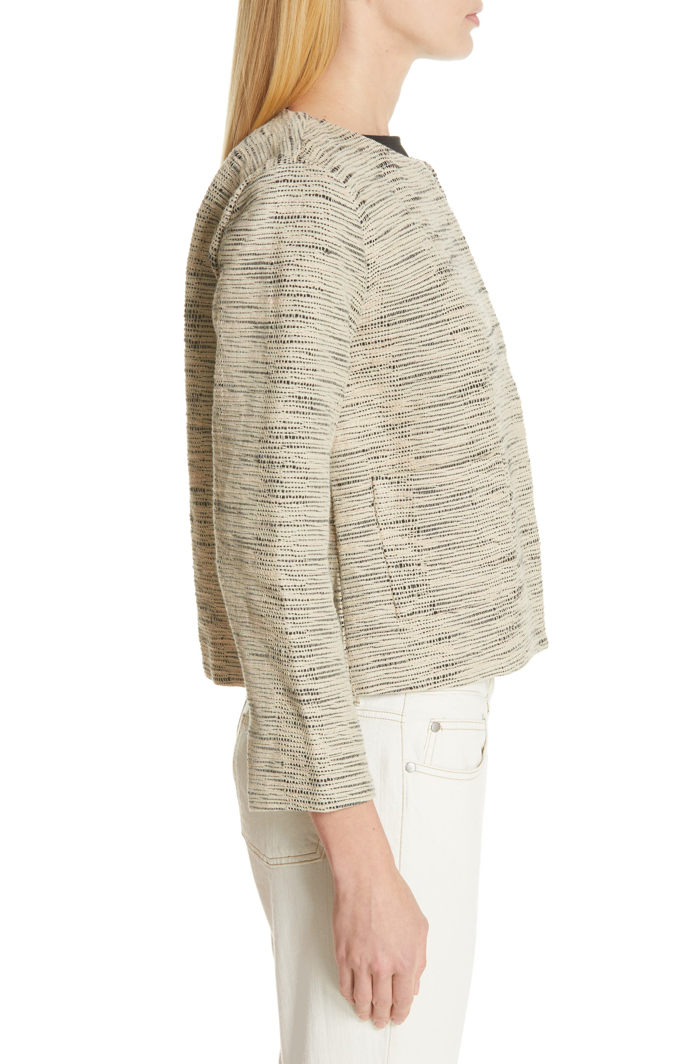EILEEN FISHER, Woven Cotton Jacket, Alternate thumbnail 4, color, NATURAL