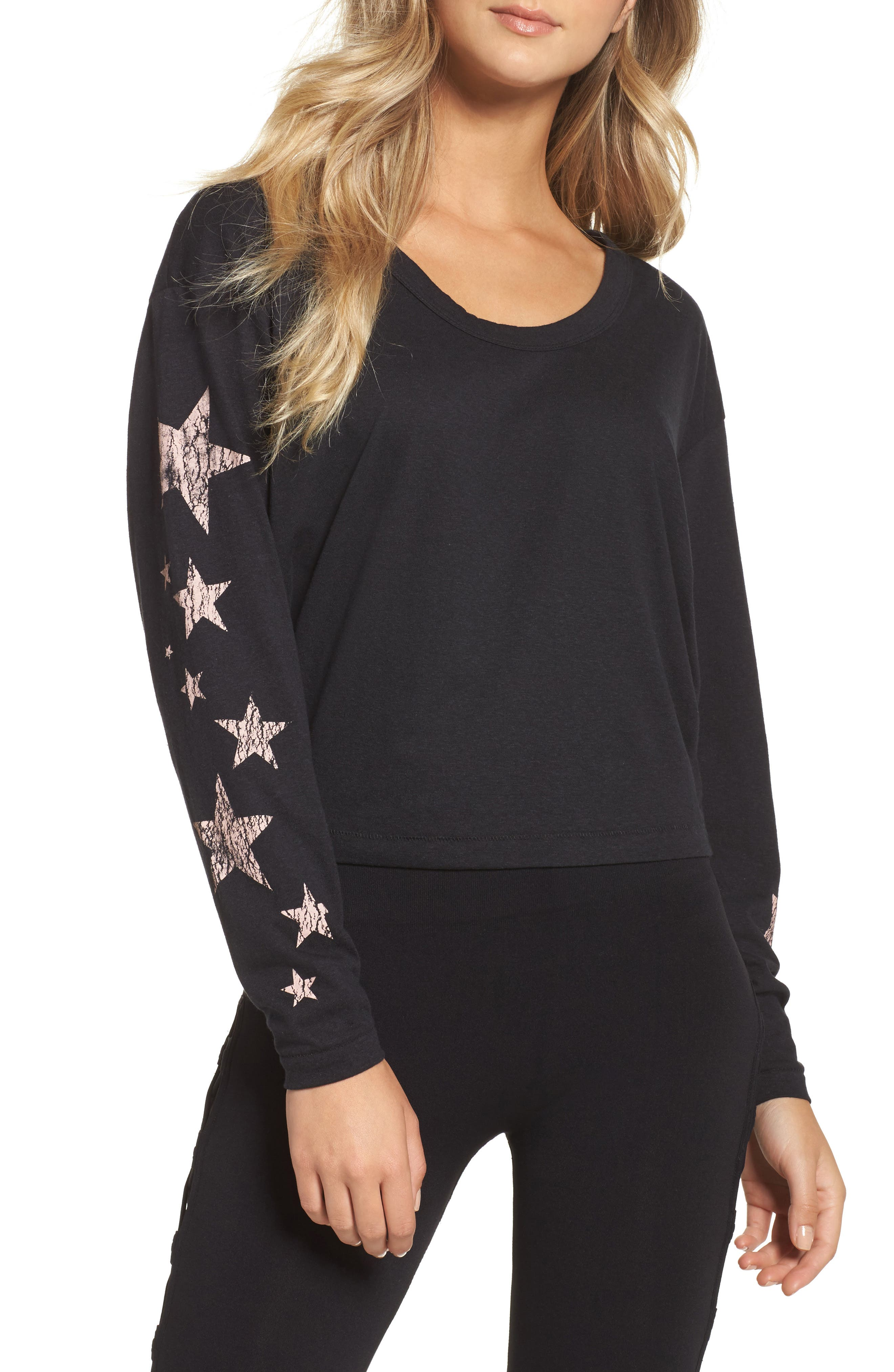 FREE PEOPLE MOVEMENT, Melrose Star Graphic Top, Main thumbnail 1, color, 001